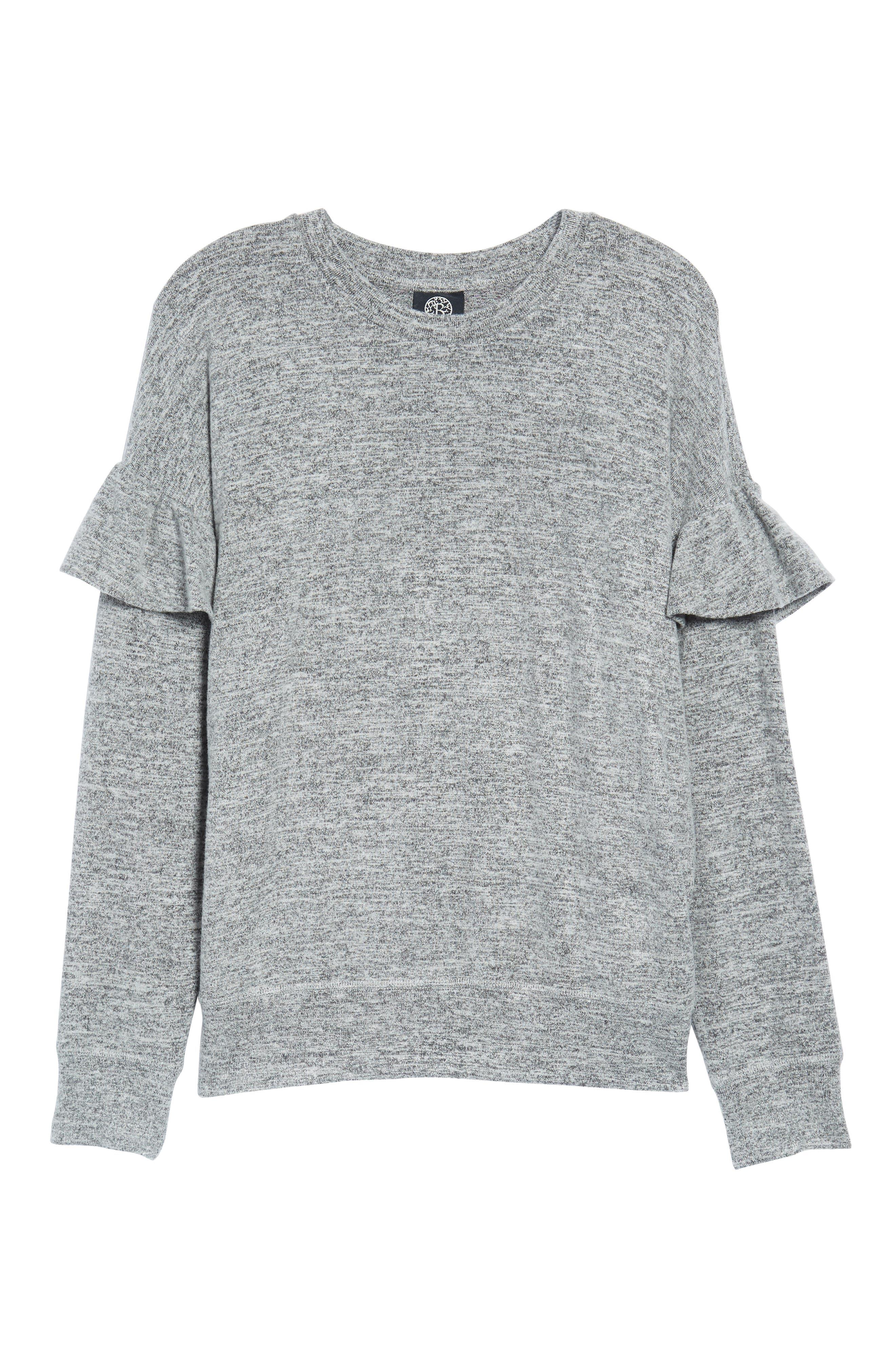 Ruffle Sleeve Sweatshirt,                             Alternate thumbnail 6, color,                             100