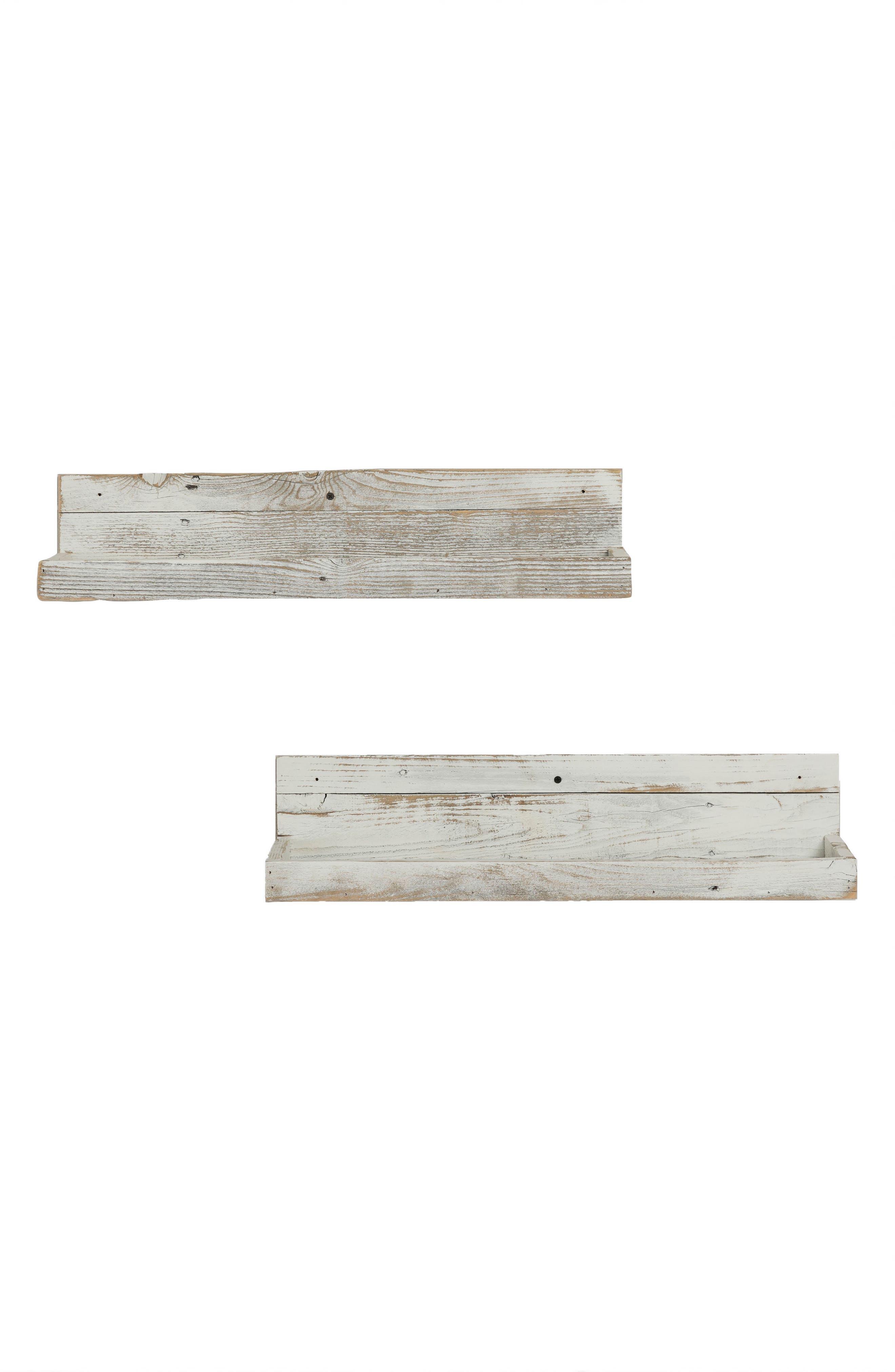 Set of 2 Reclaimed Wood Floating Shelves,                         Main,                         color,