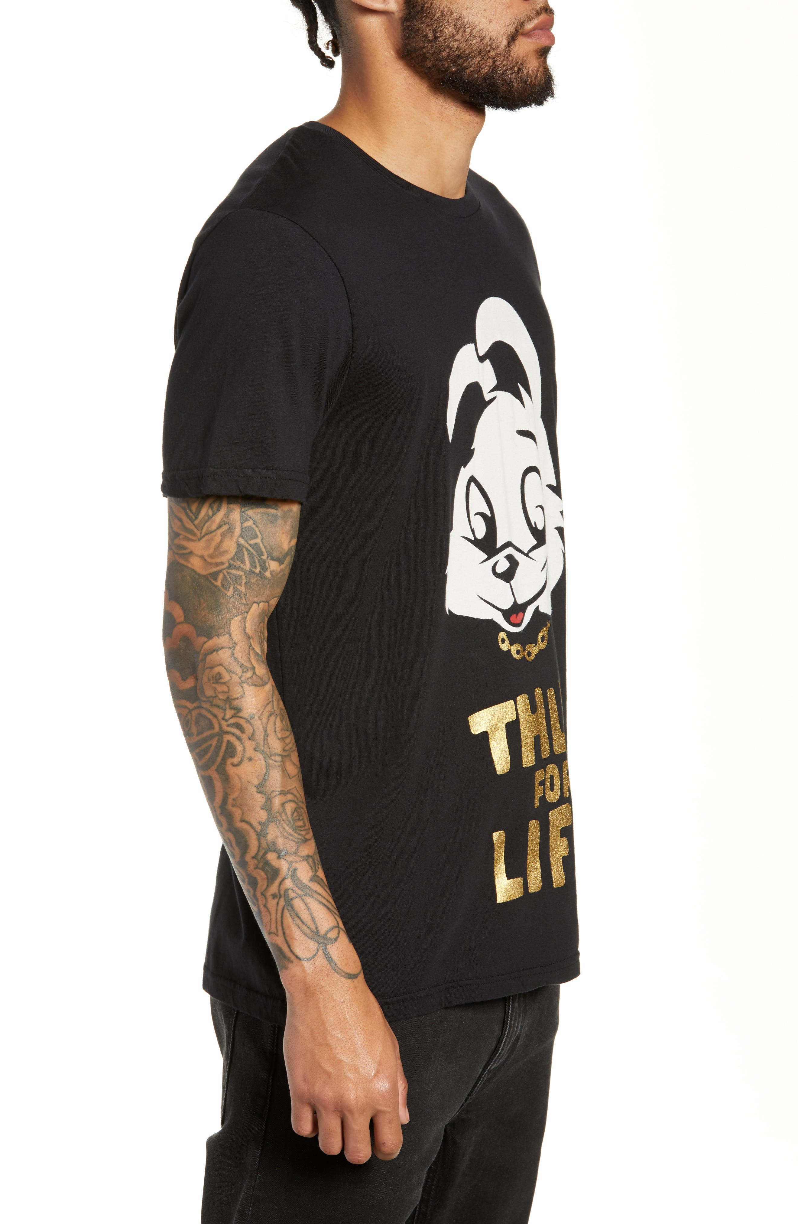 Thug for Life Graphic T-Shirt,                             Alternate thumbnail 3, color,                             BLACK