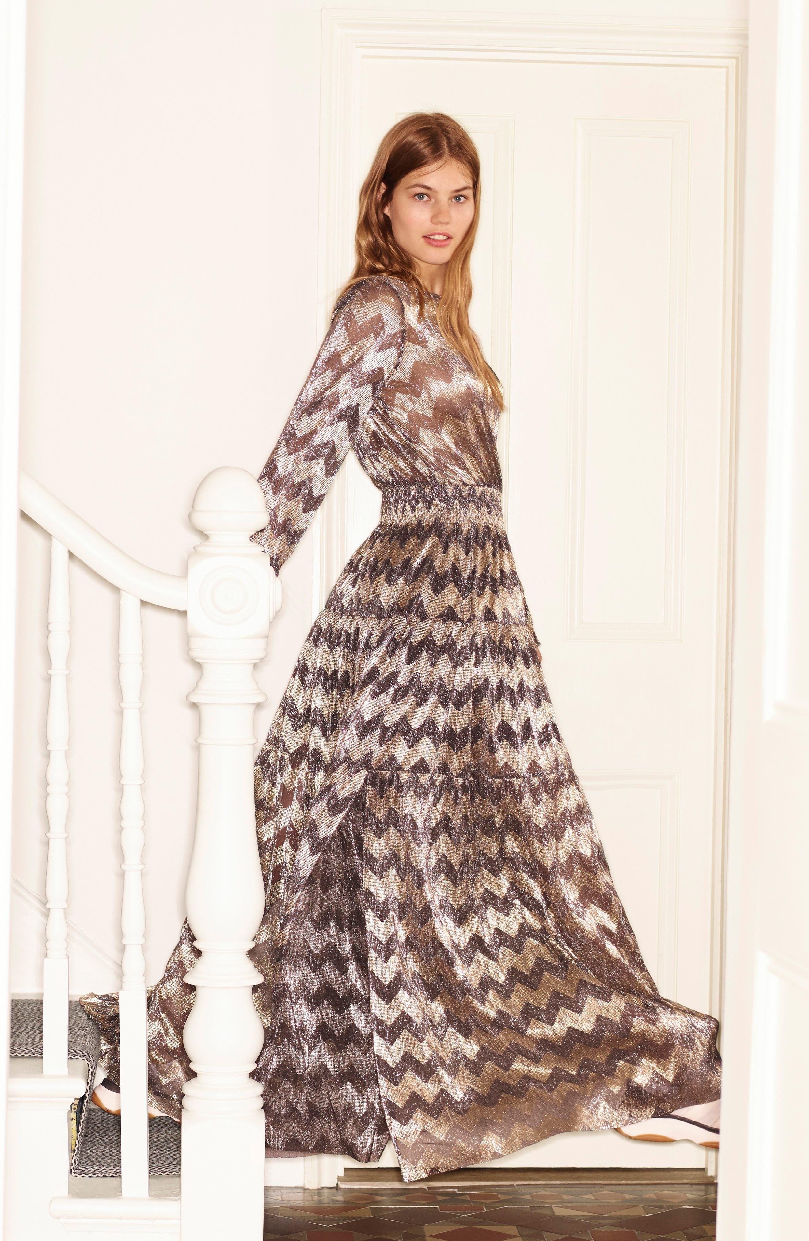 Grey Metallic Zigzag Maxi Dress,                             Alternate thumbnail 8, color,                             ANTHRACITE