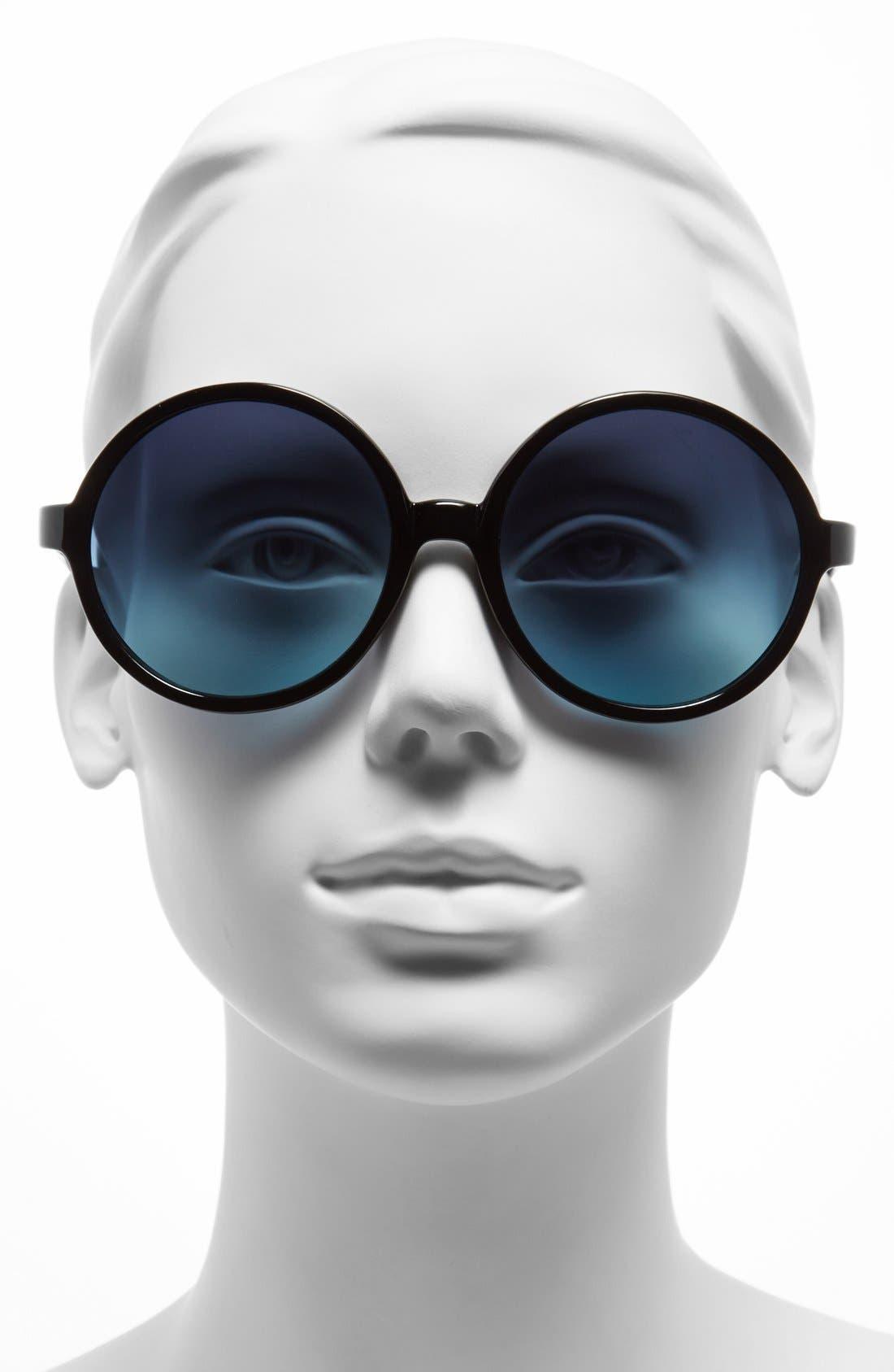 58mm Round Sunglasses,                             Alternate thumbnail 2, color,                             001
