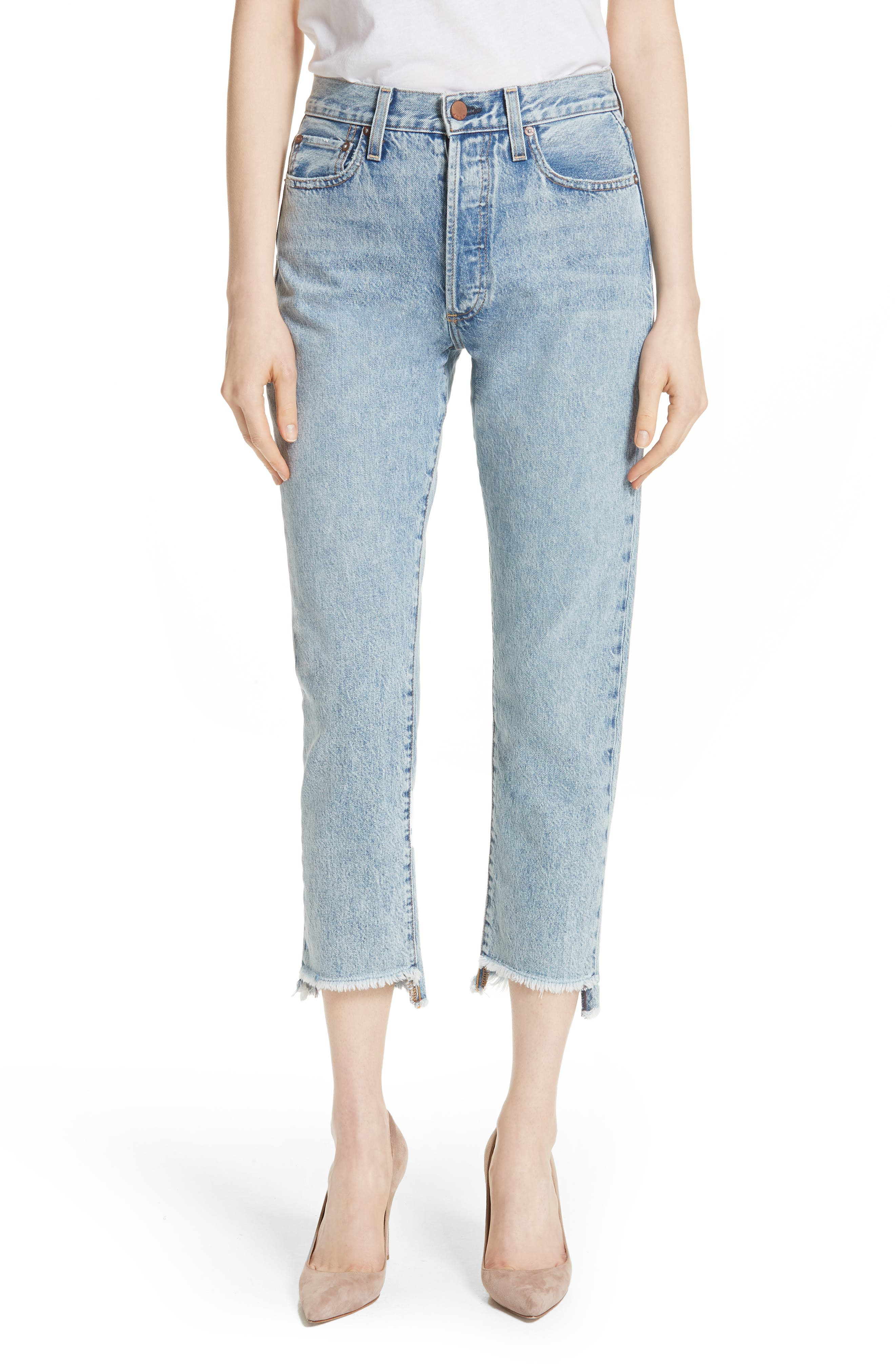 ALICE + OLIVIA JEANS Amazing Good Luck Slim Girlfriend Jeans, Main, color, 490