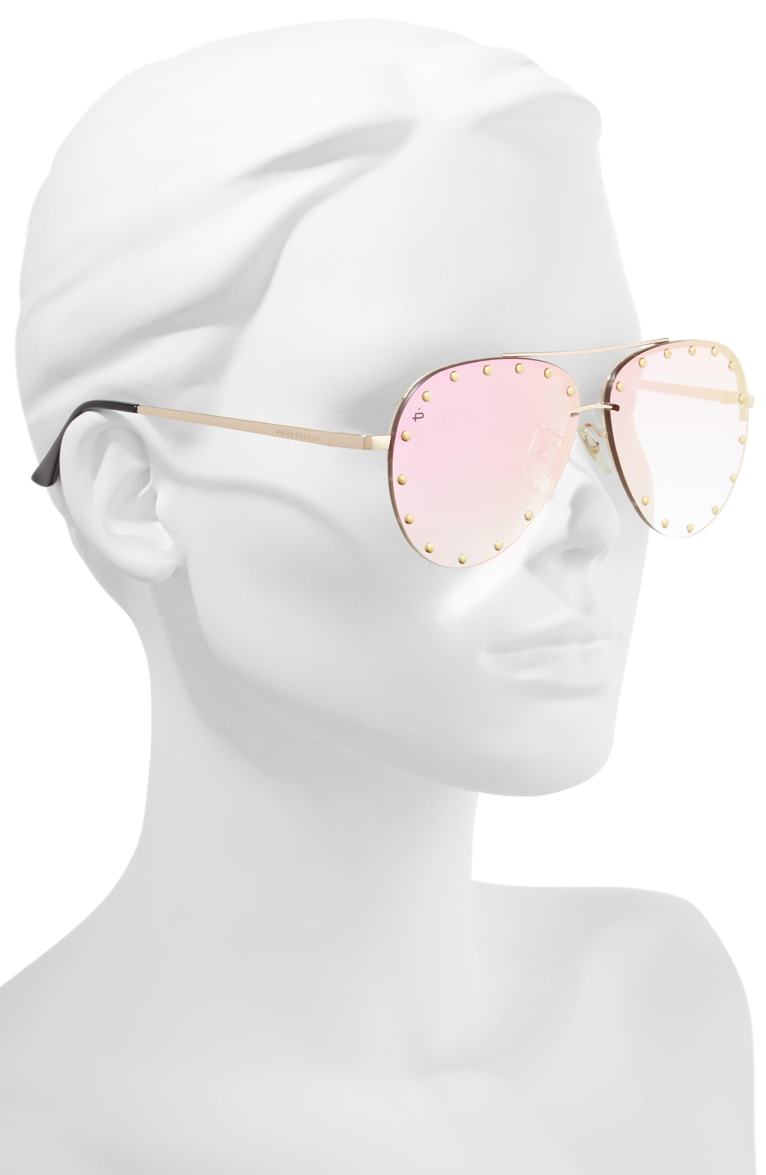 Privé Revaux The Sixth Man 60mm Studded Aviator Sunglasses,                             Alternate thumbnail 6, color,