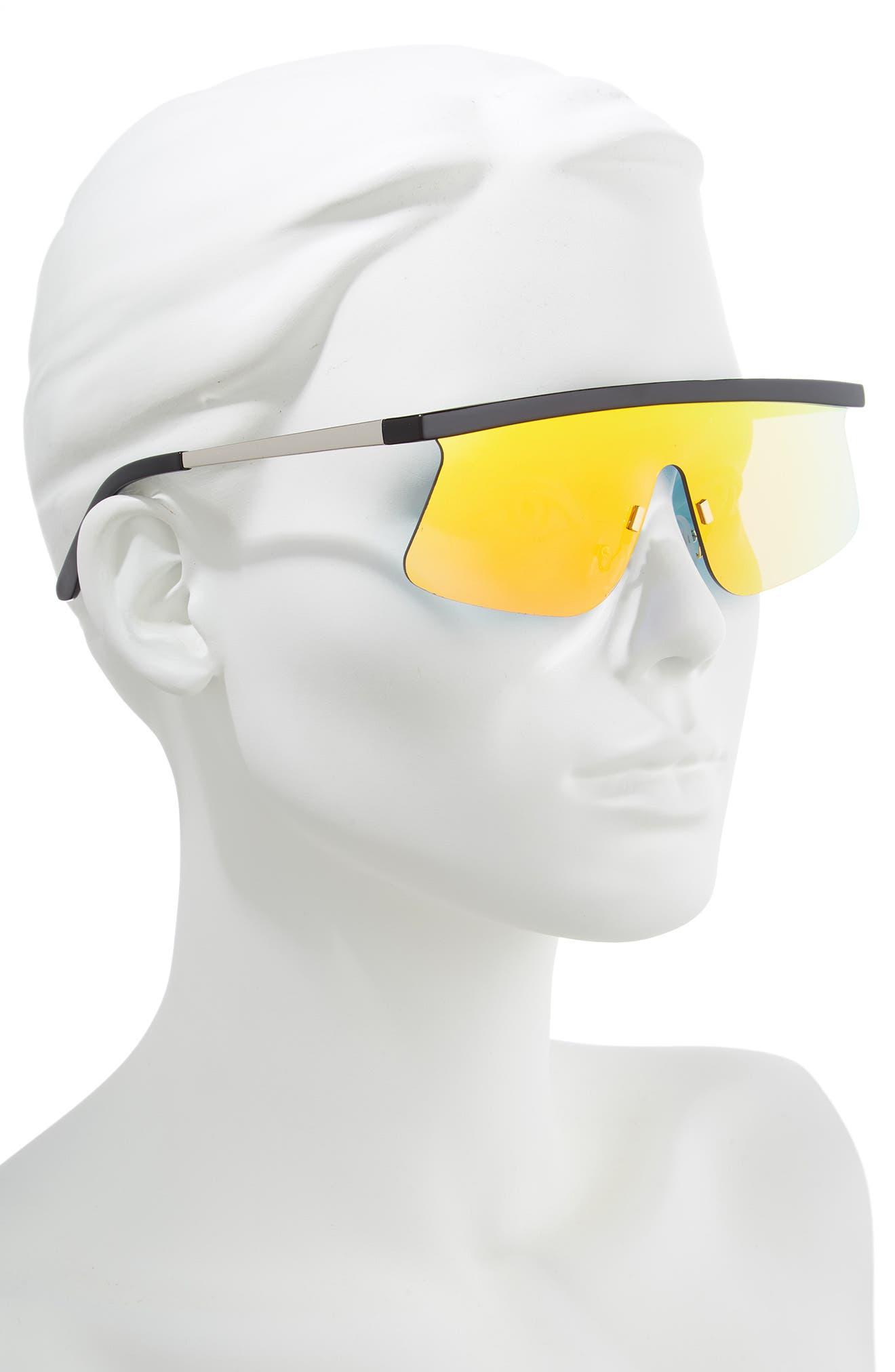 Brow Bar Shield Sunglasses,                             Alternate thumbnail 2, color,                             BLACK/ ORANGE