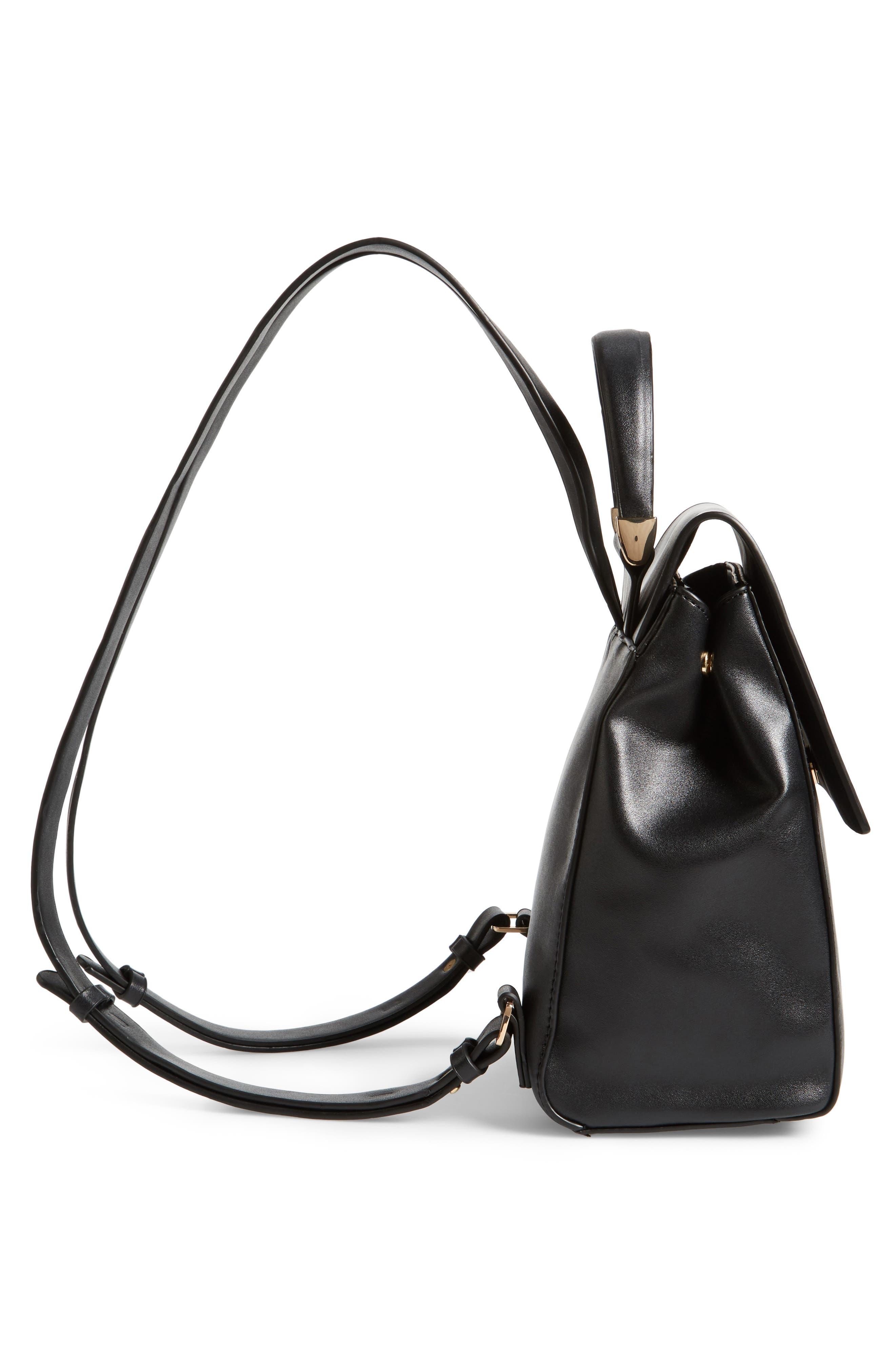 Mini Scandi Faux Leather Backpack,                             Alternate thumbnail 5, color,                             001
