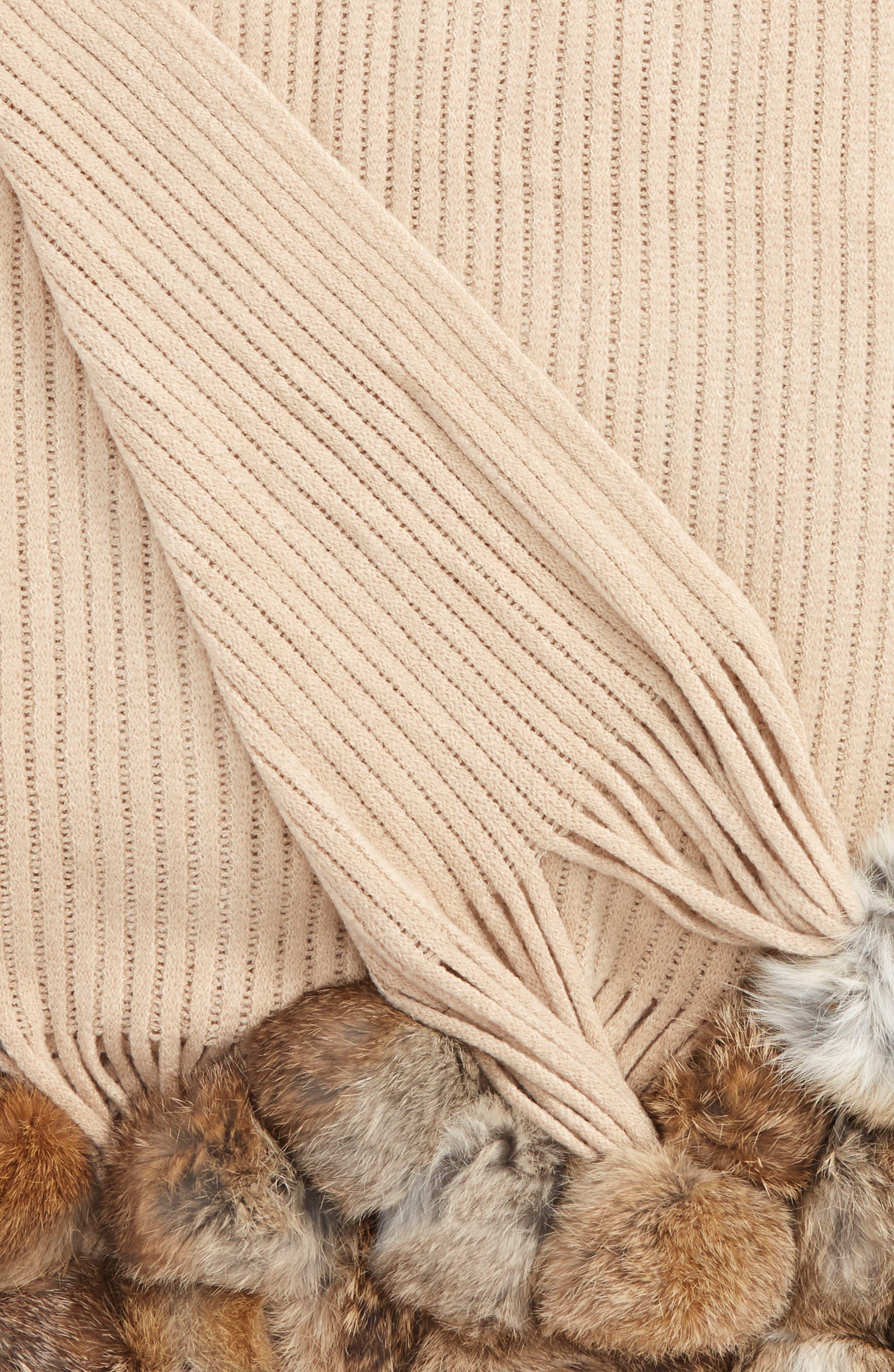 Genuine Rabbit Fur Pompom Rib Knit Throw,                             Alternate thumbnail 7, color,