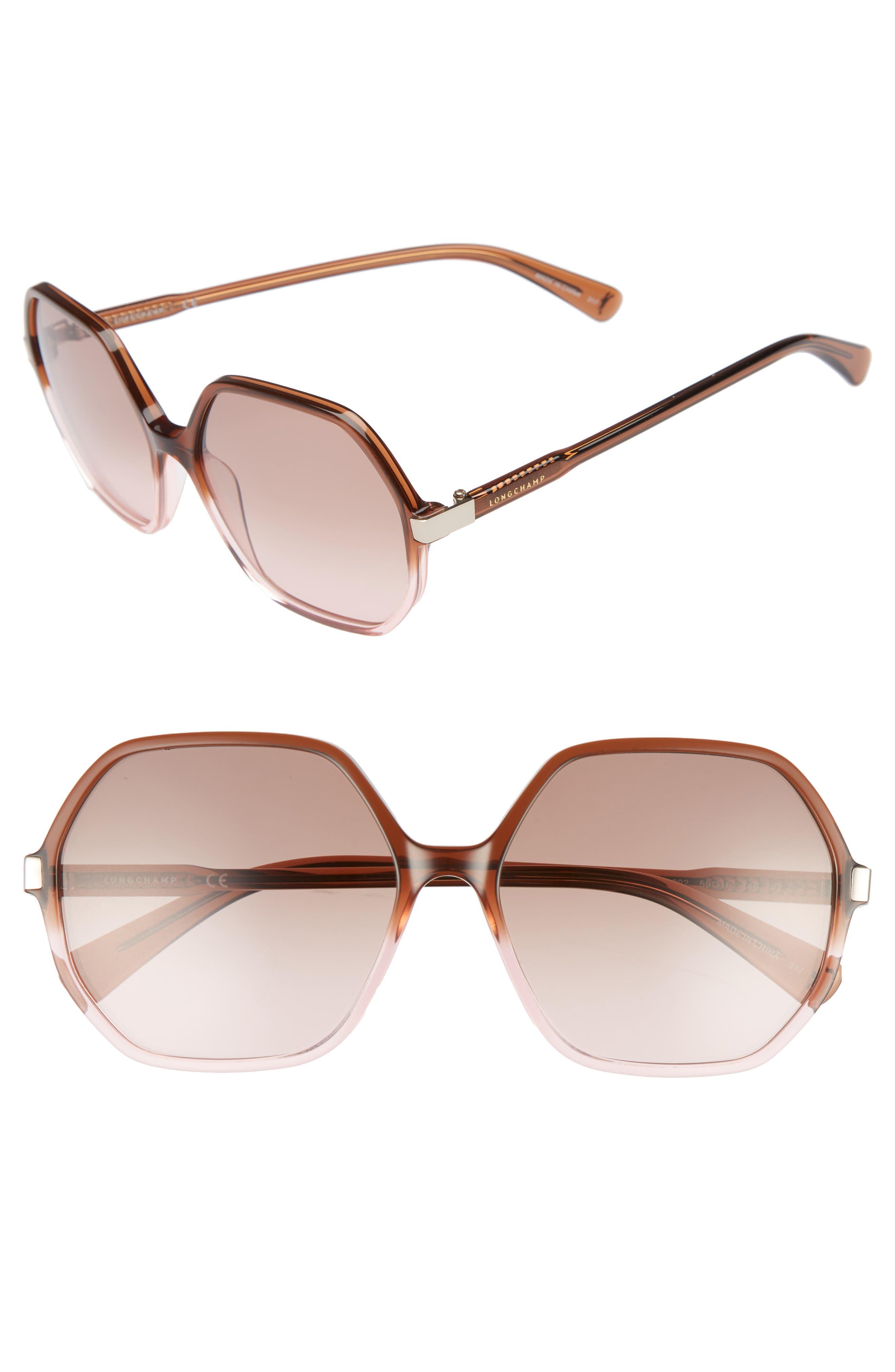 Retro Sunglasses | Vintage Glasses | New Vintage Eyeglasses Womens Longchamp 59Mm Gradient Lens Hexagonal Sunglasses - $126.00 AT vintagedancer.com