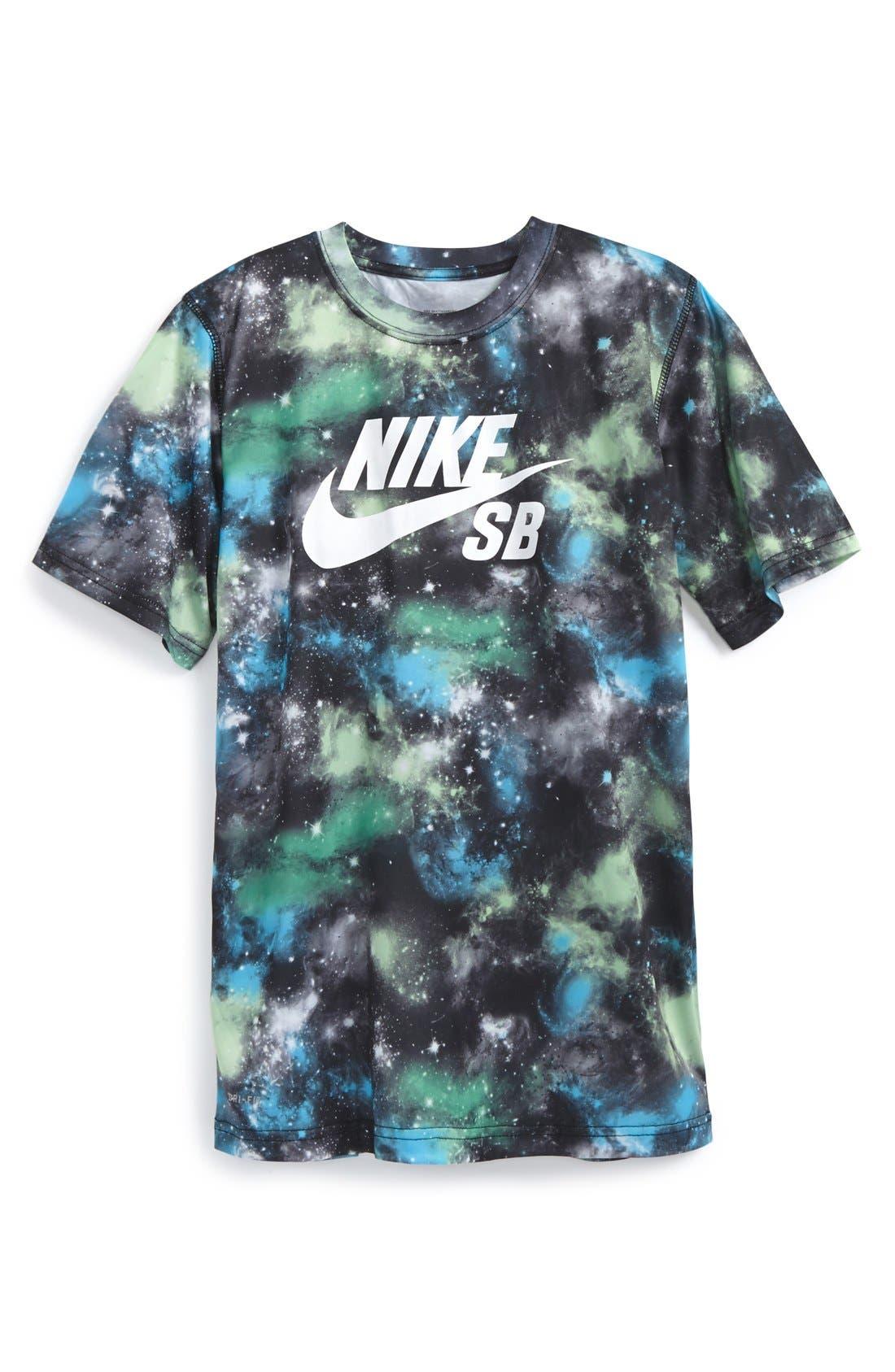 'SB Galaxy Print' Dri-FIT T-Shirt,                             Main thumbnail 1, color,                             001