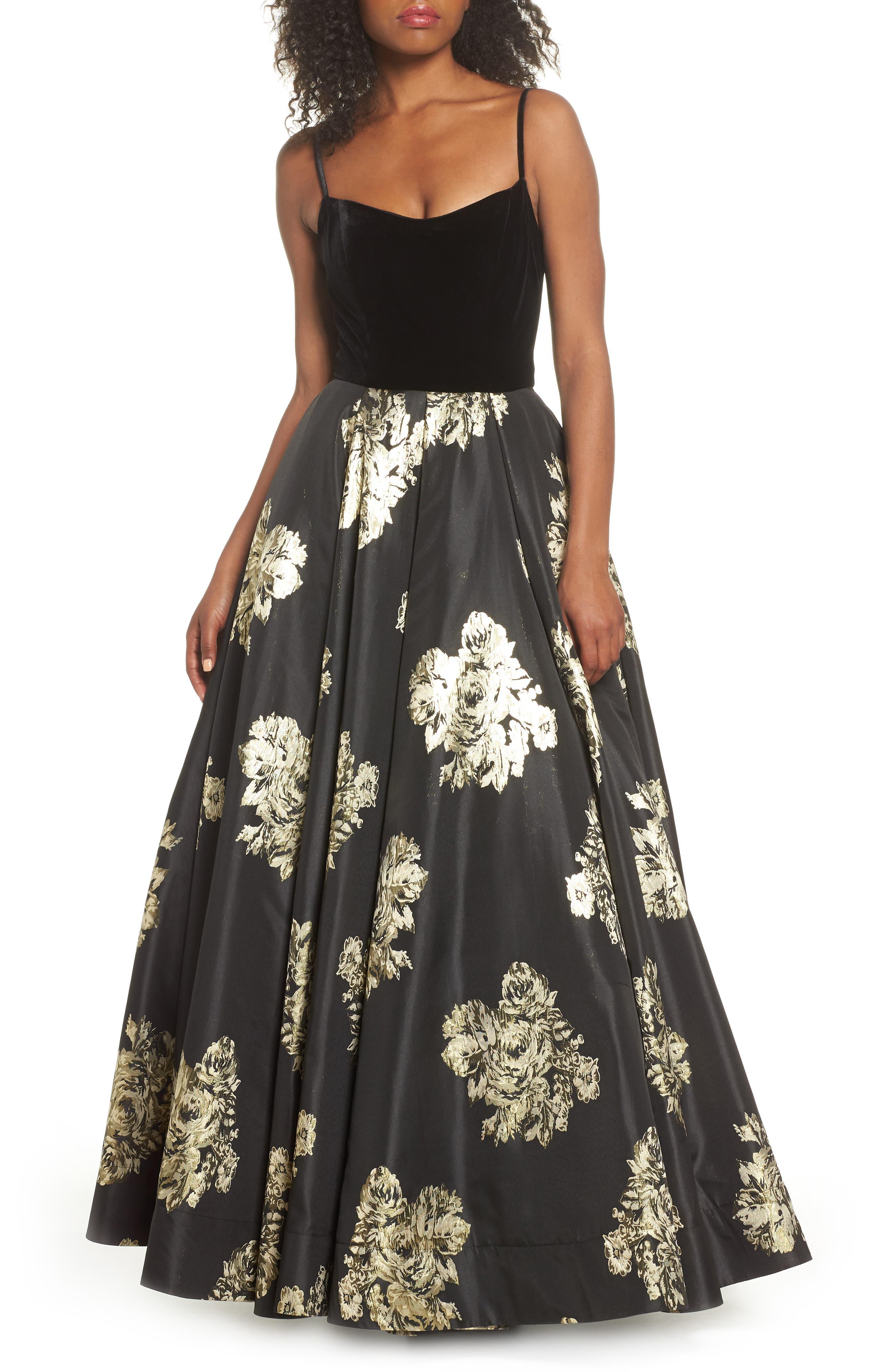 MAC Duggal Velvet & Floral Ballgown, Black