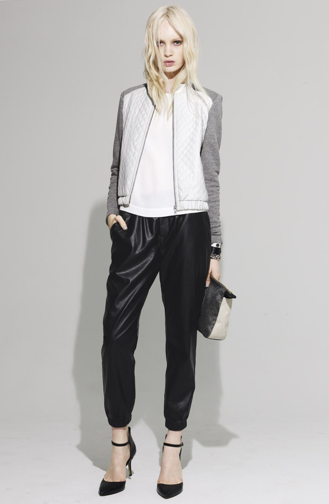 PIPER,                             Faux Leather Track Pants,                             Main thumbnail 1, color,                             200