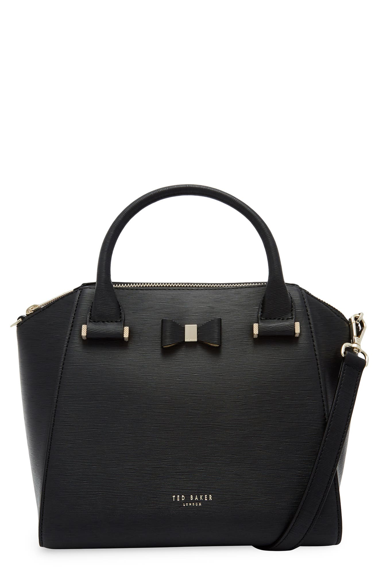 Bow Tote,                         Main,                         color, BLACK