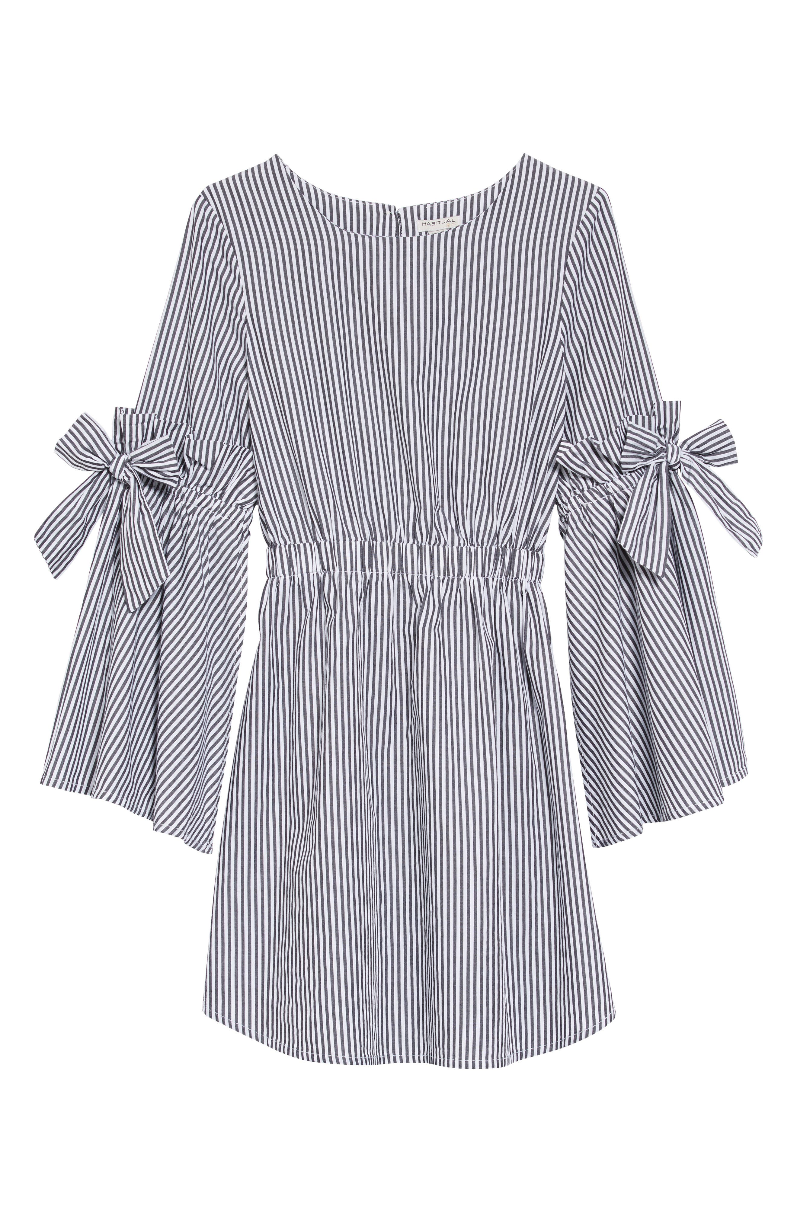 HABITUAL,                             Rosie Bell Sleeve Stripe Dress,                             Main thumbnail 1, color,                             100