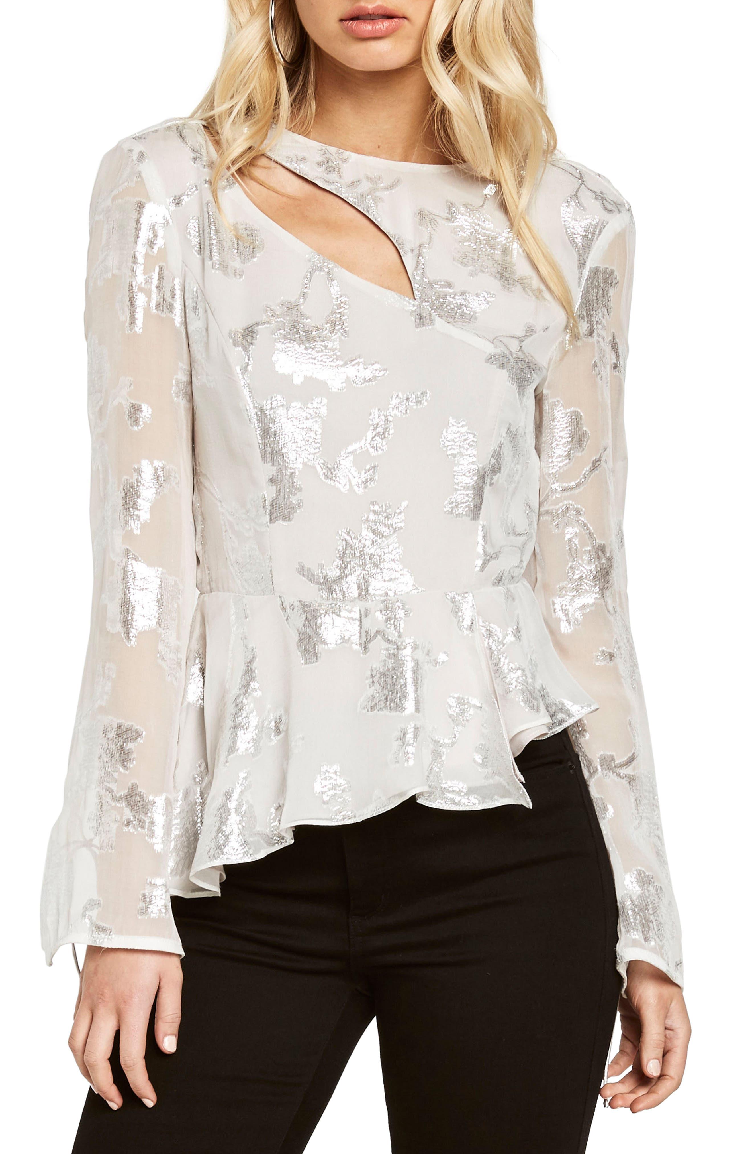 Metallic Cutout Silk Blend Blouse,                         Main,                         color, 020