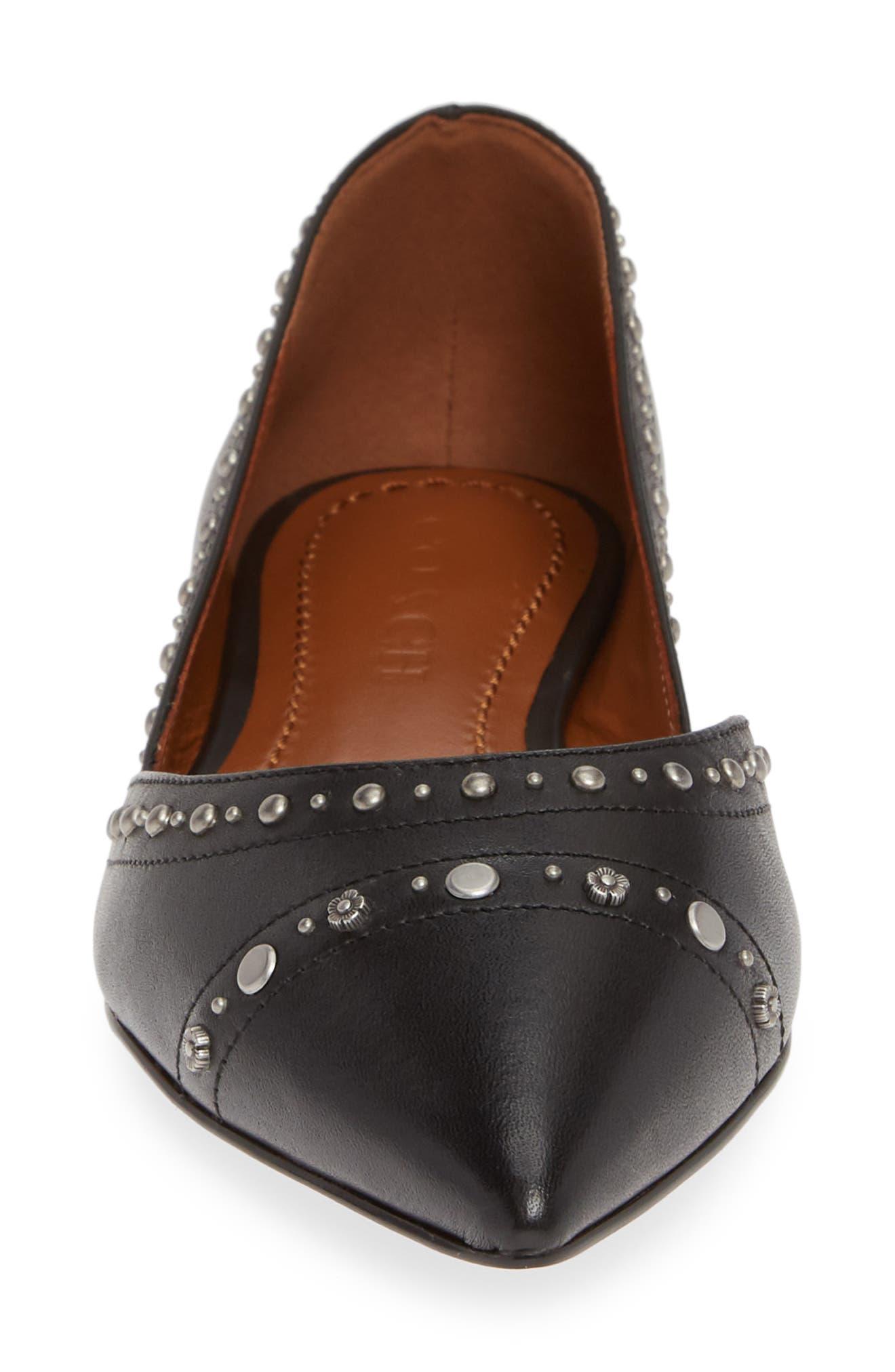 Valintina Pointed Toe Flat,                             Alternate thumbnail 4, color,                             BLACK LEATHER