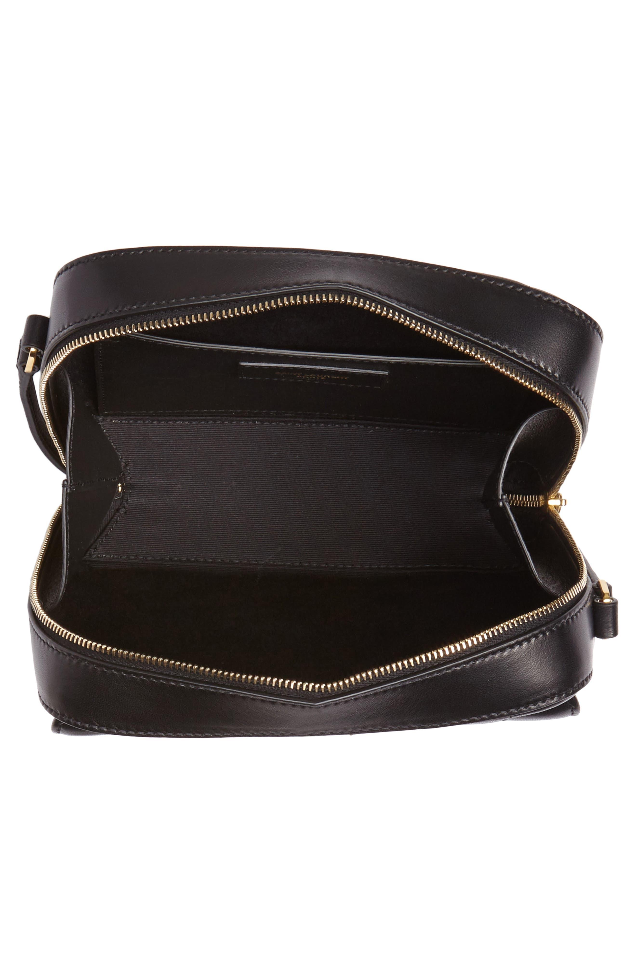 Vicky Leather Camera Bag,                             Alternate thumbnail 4, color,                             NOIR