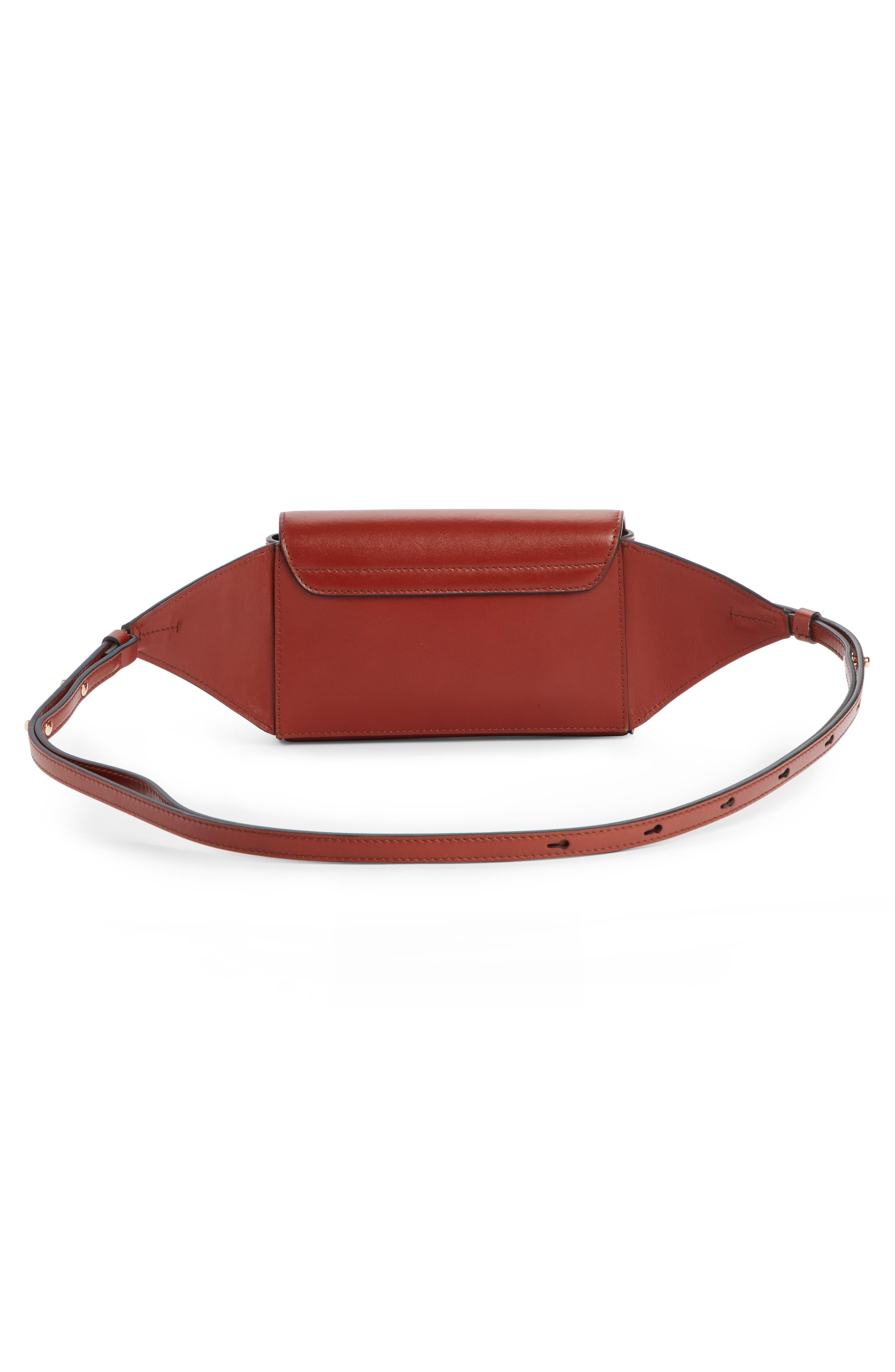 CHLOÉ,                             C Leather Convertible Belt Bag,                             Alternate thumbnail 3, color,                             SEPIA BROWN