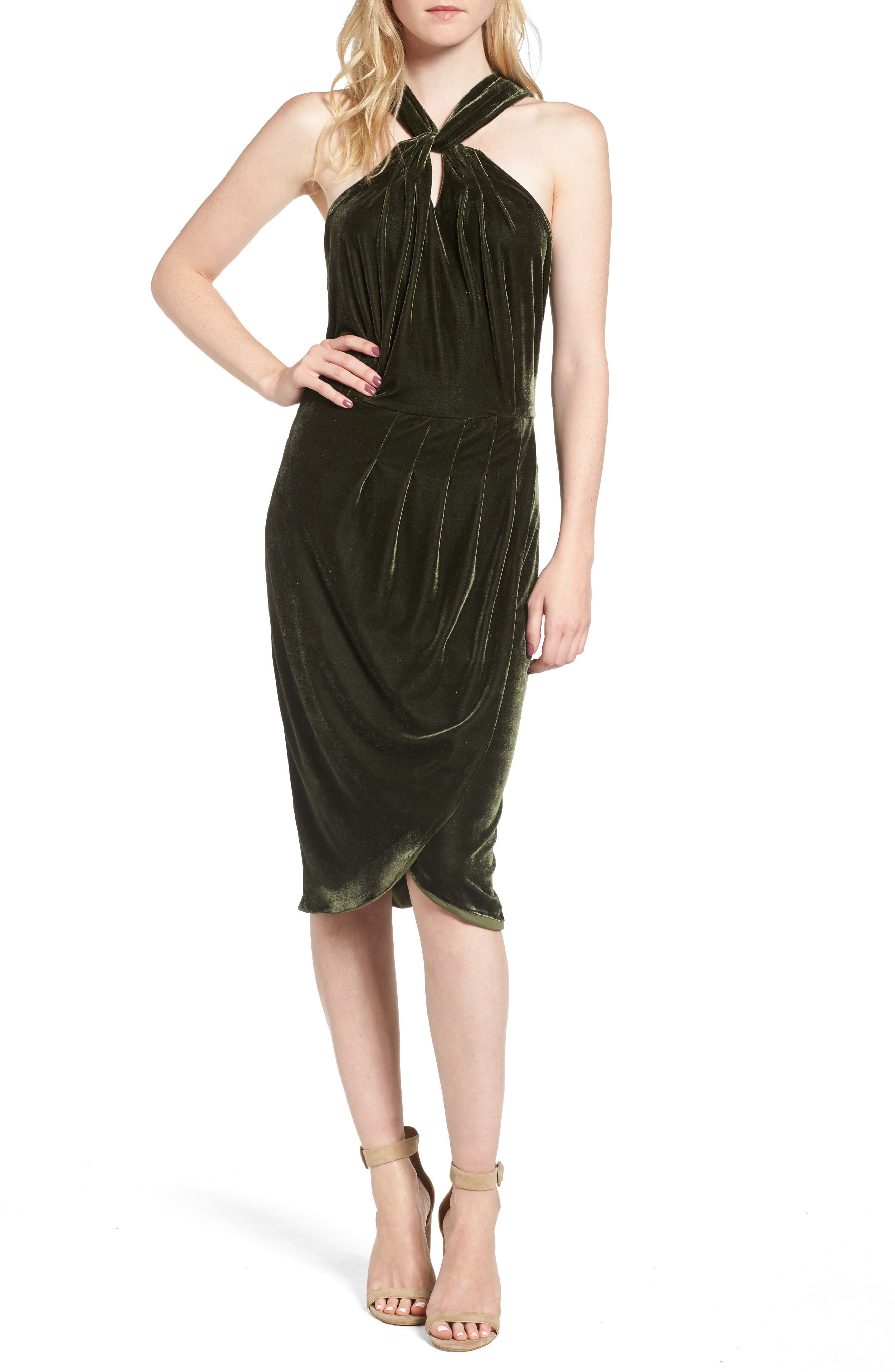 Wales Velvet Halter Dress,                         Main,                         color, 360