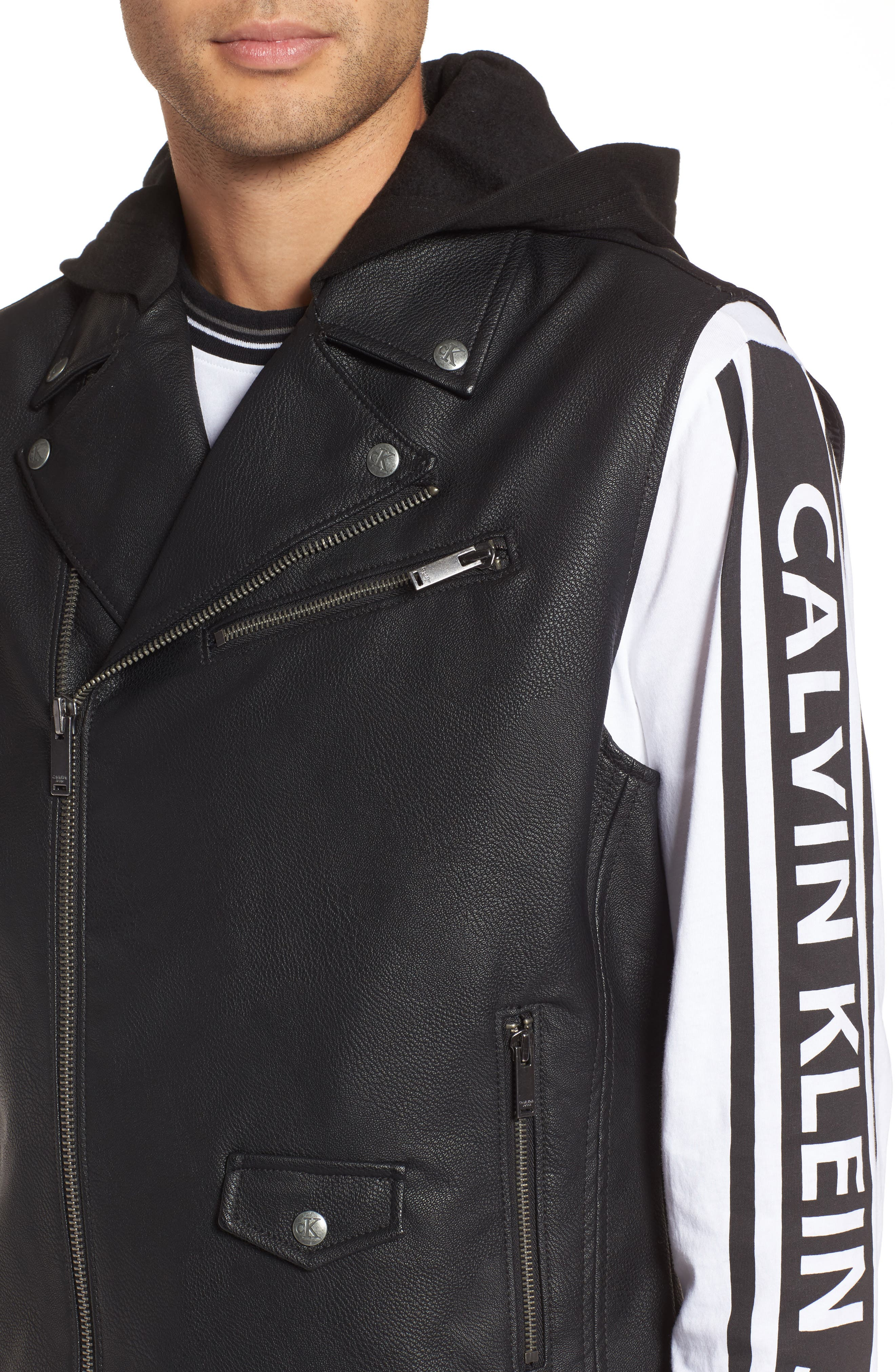 Faux Leather Hooded Biker Vest,                             Alternate thumbnail 4, color,                             010
