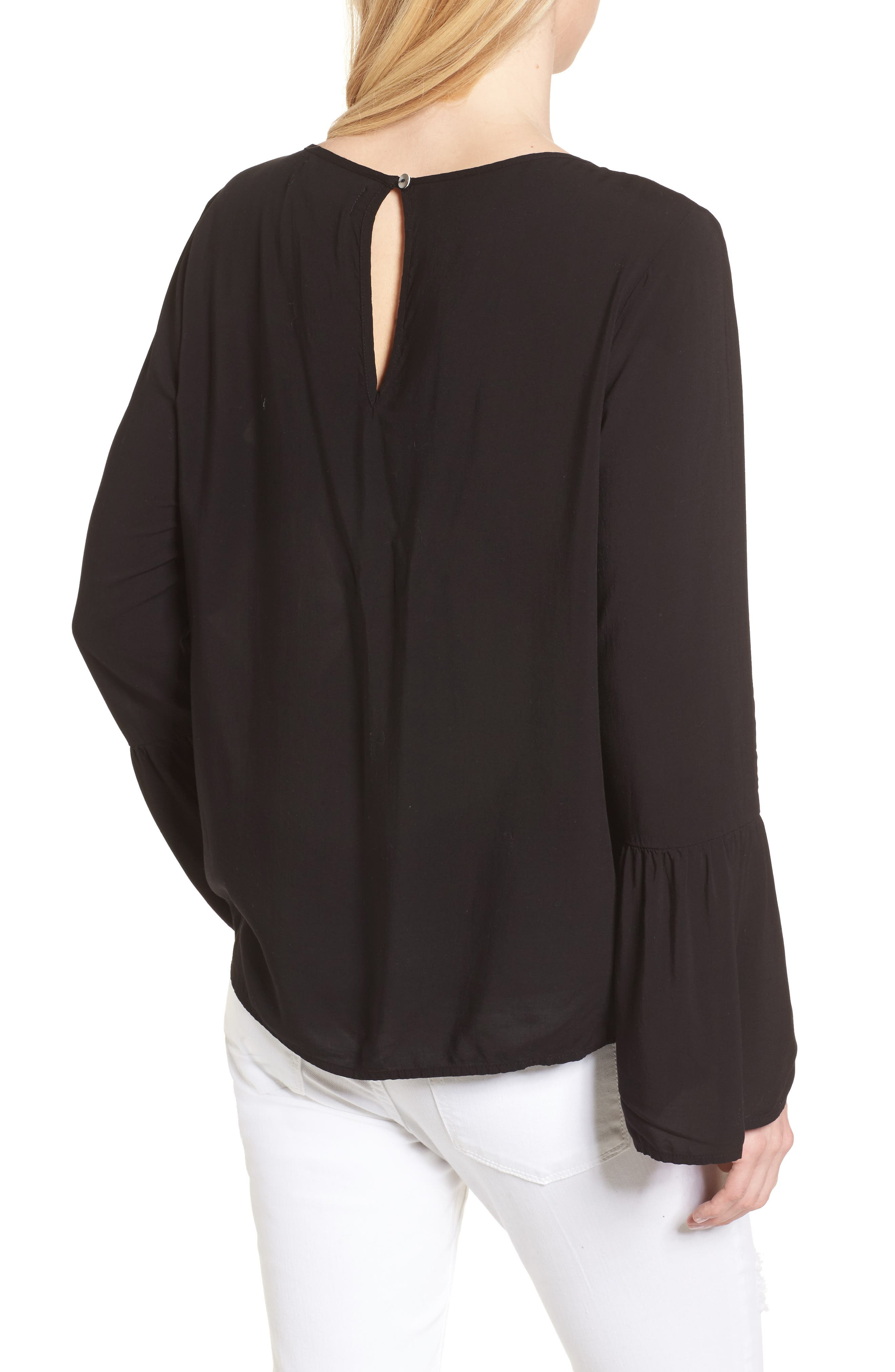 Bell Cuff Blouse,                             Alternate thumbnail 2, color,                             BLACK