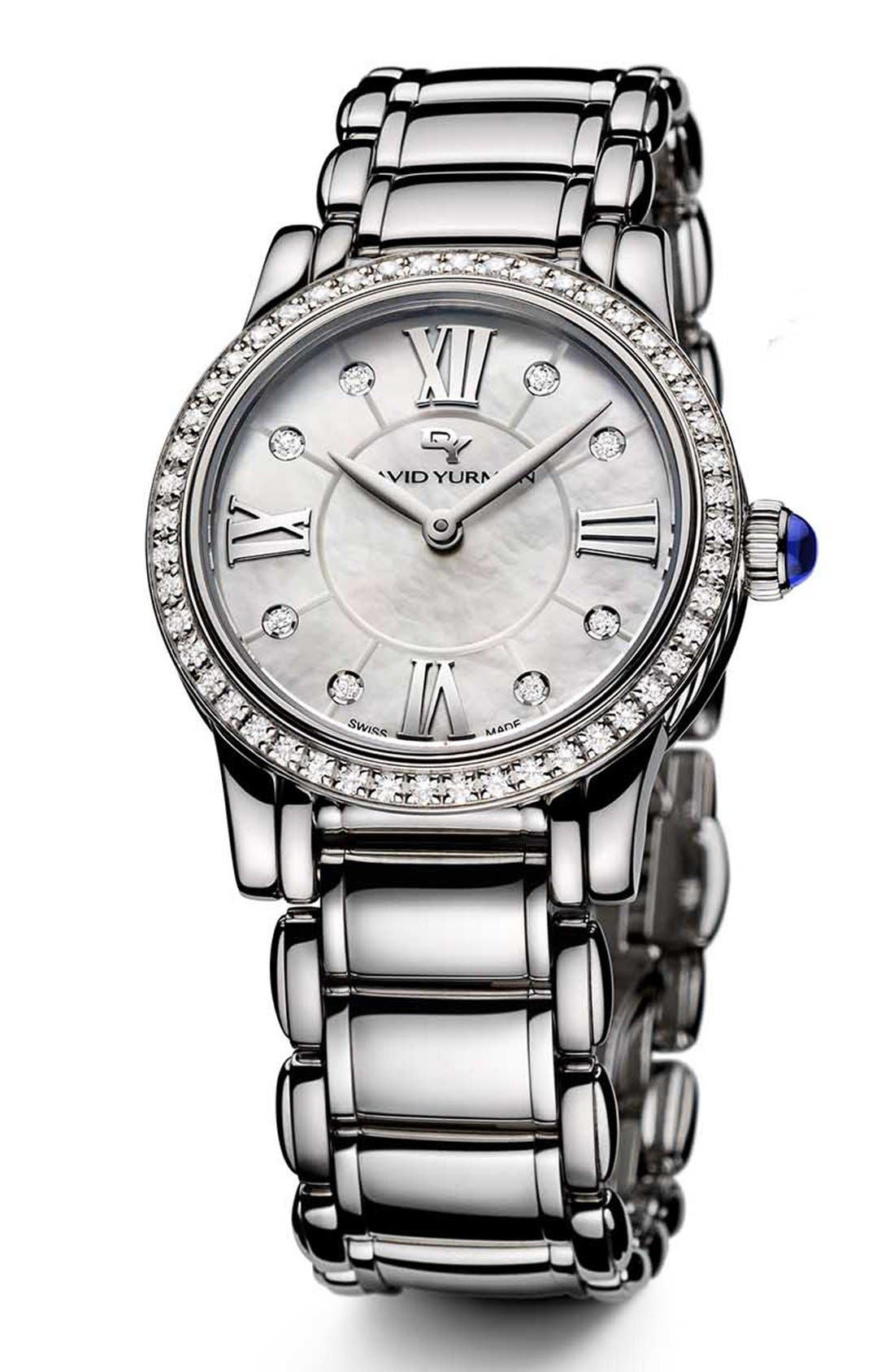 'Classic' Stainless Steel Quartz with Diamond Bezel,                         Main,                         color, STAINLESS STEEL DIAMOND