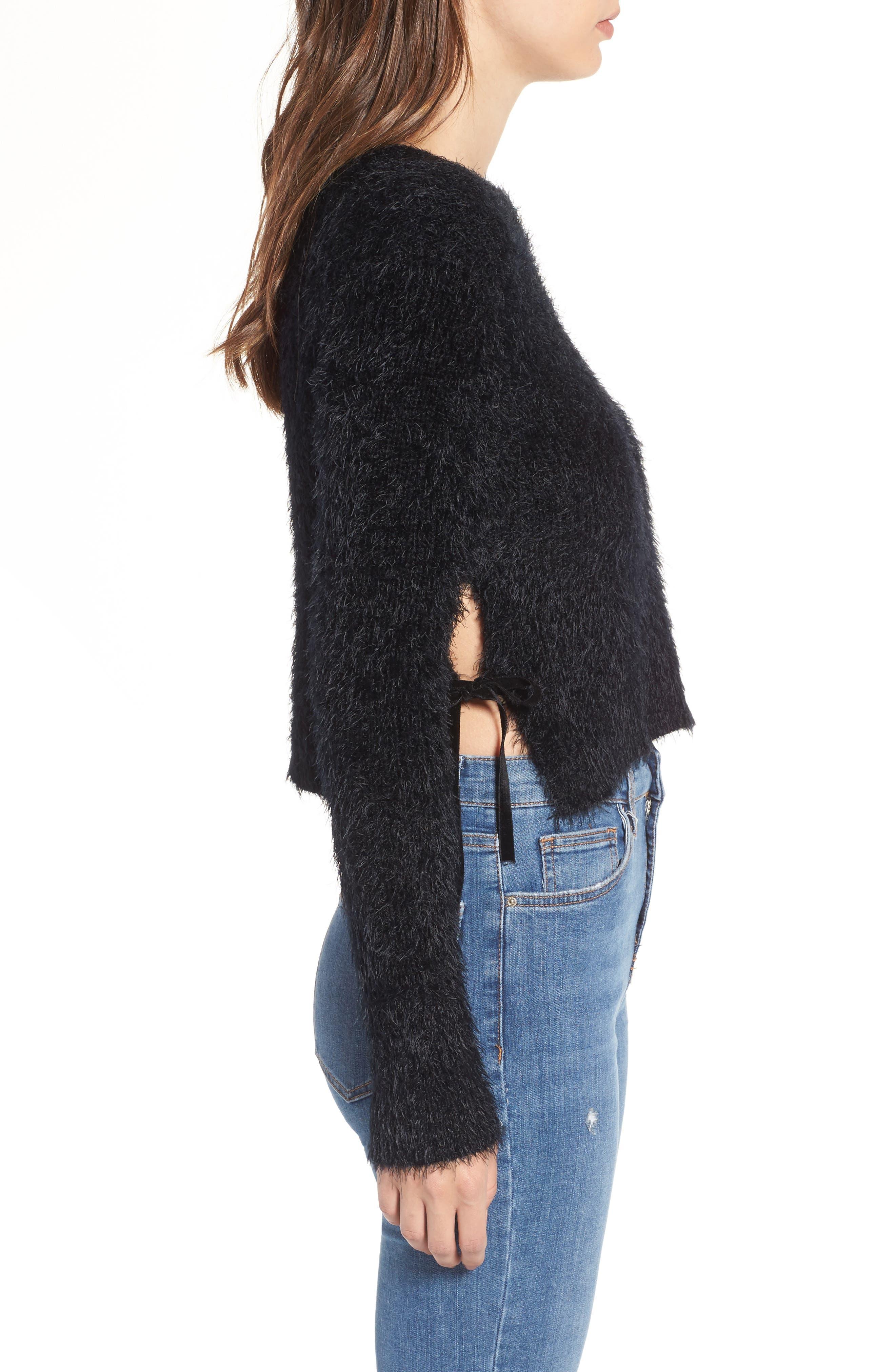 MAJORELLE,                             Majesty Tie Crop Sweater,                             Alternate thumbnail 3, color,                             001