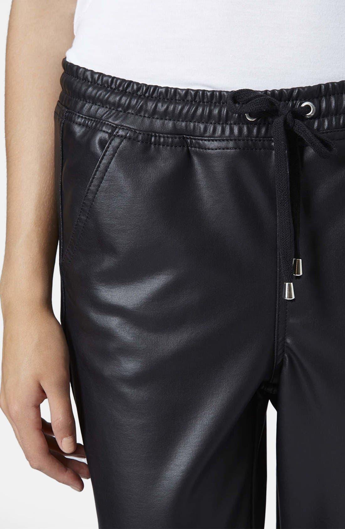 Paneled Faux Leather Joggers,                             Alternate thumbnail 4, color,                             001