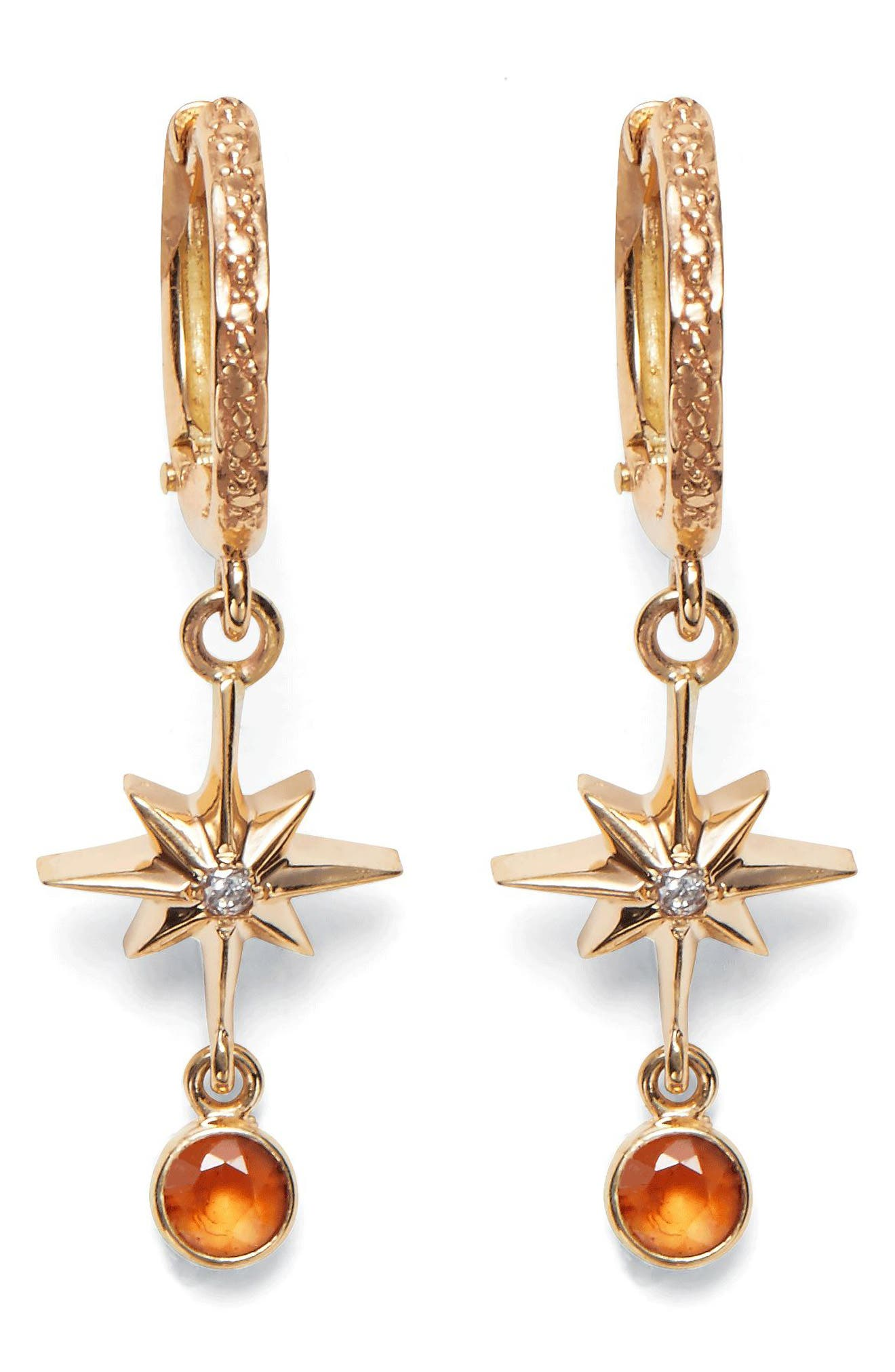 Lucky Star Diamond & Sapphire Earrings,                             Main thumbnail 1, color,                             YELLOW GOLD
