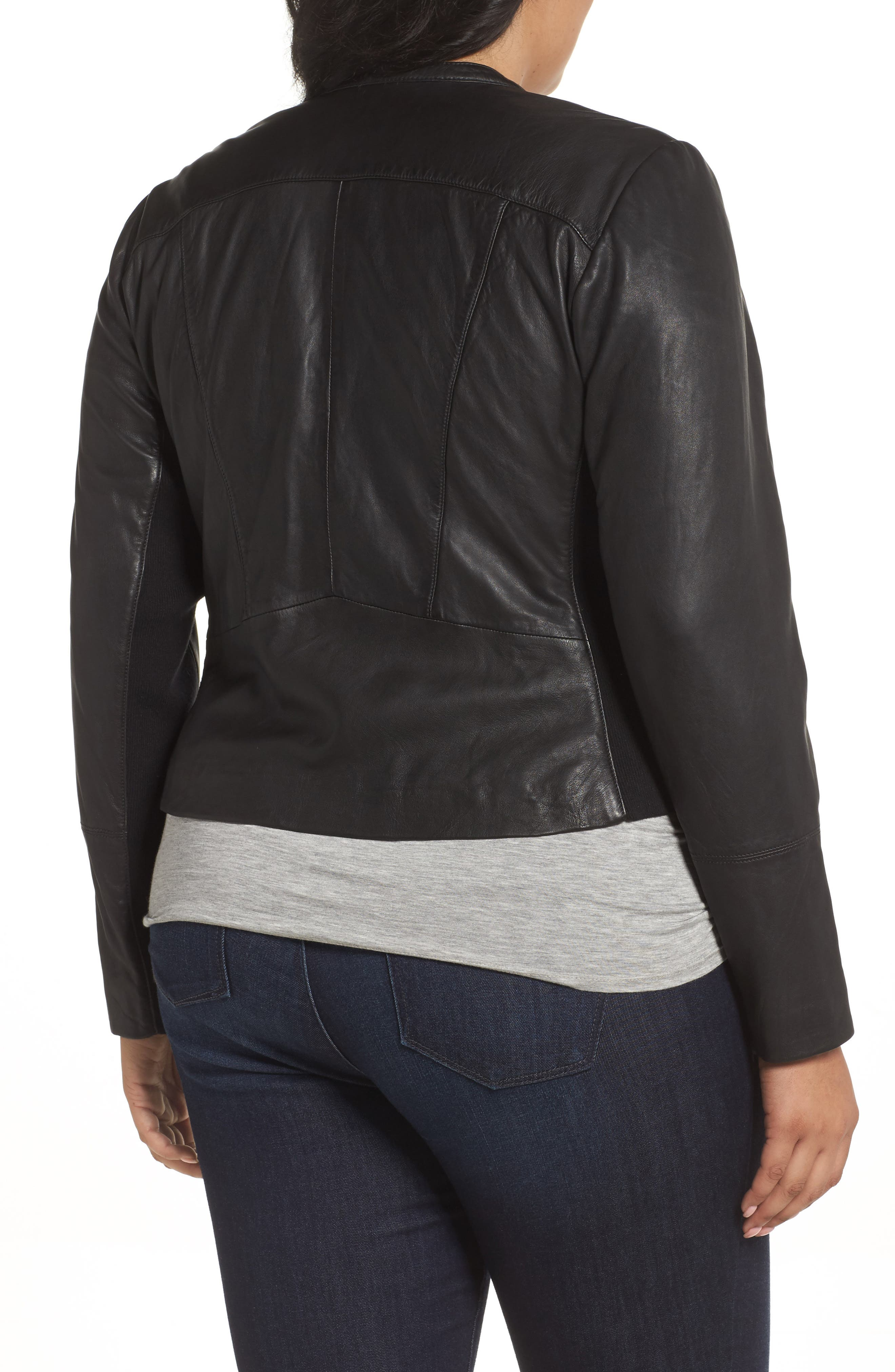 Leather Moto Jacket,                             Alternate thumbnail 2, color,                             001