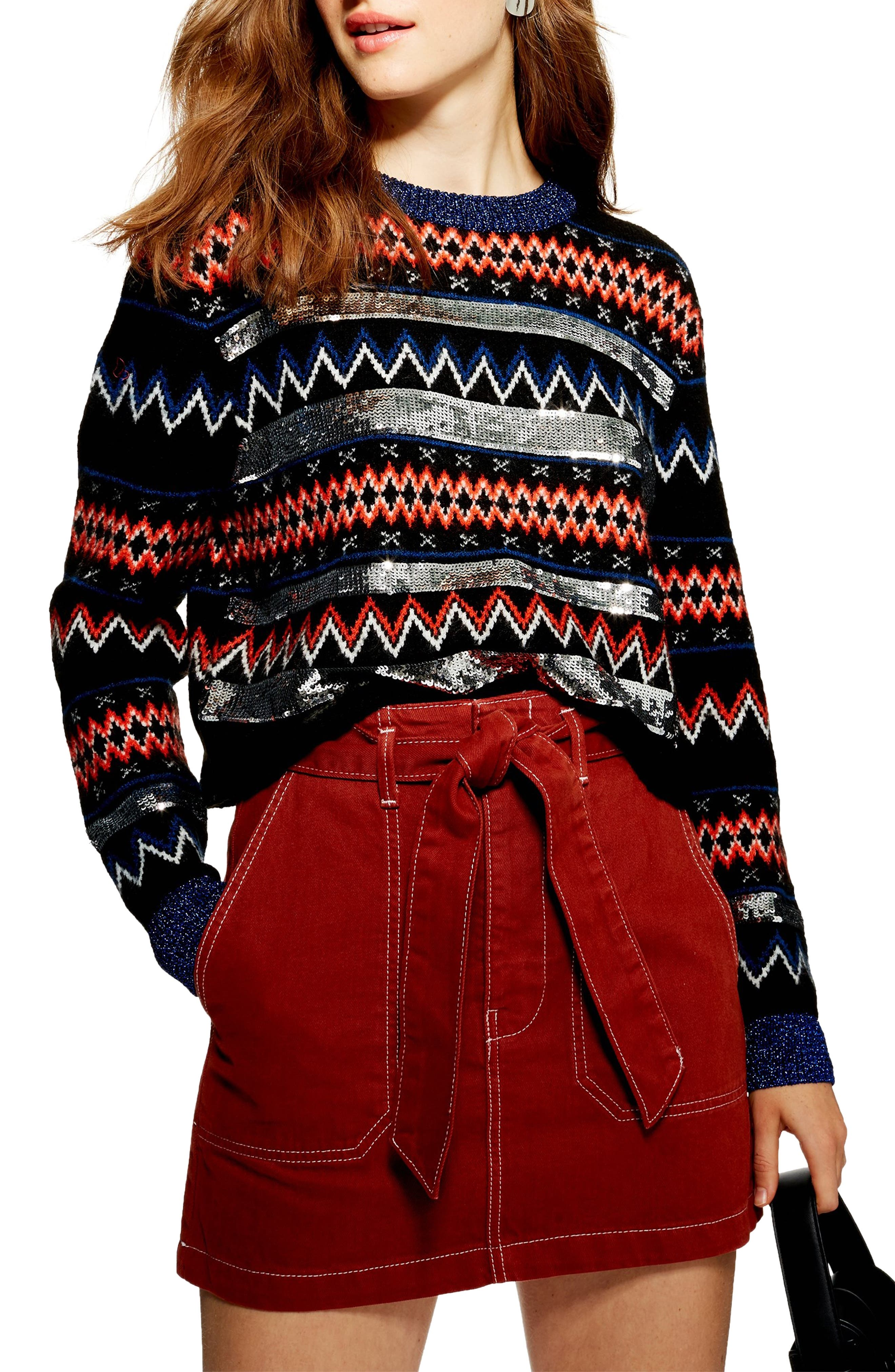 Sequin Stripe Fair Isle Sweater,                             Main thumbnail 1, color,                             BLACK MULTI