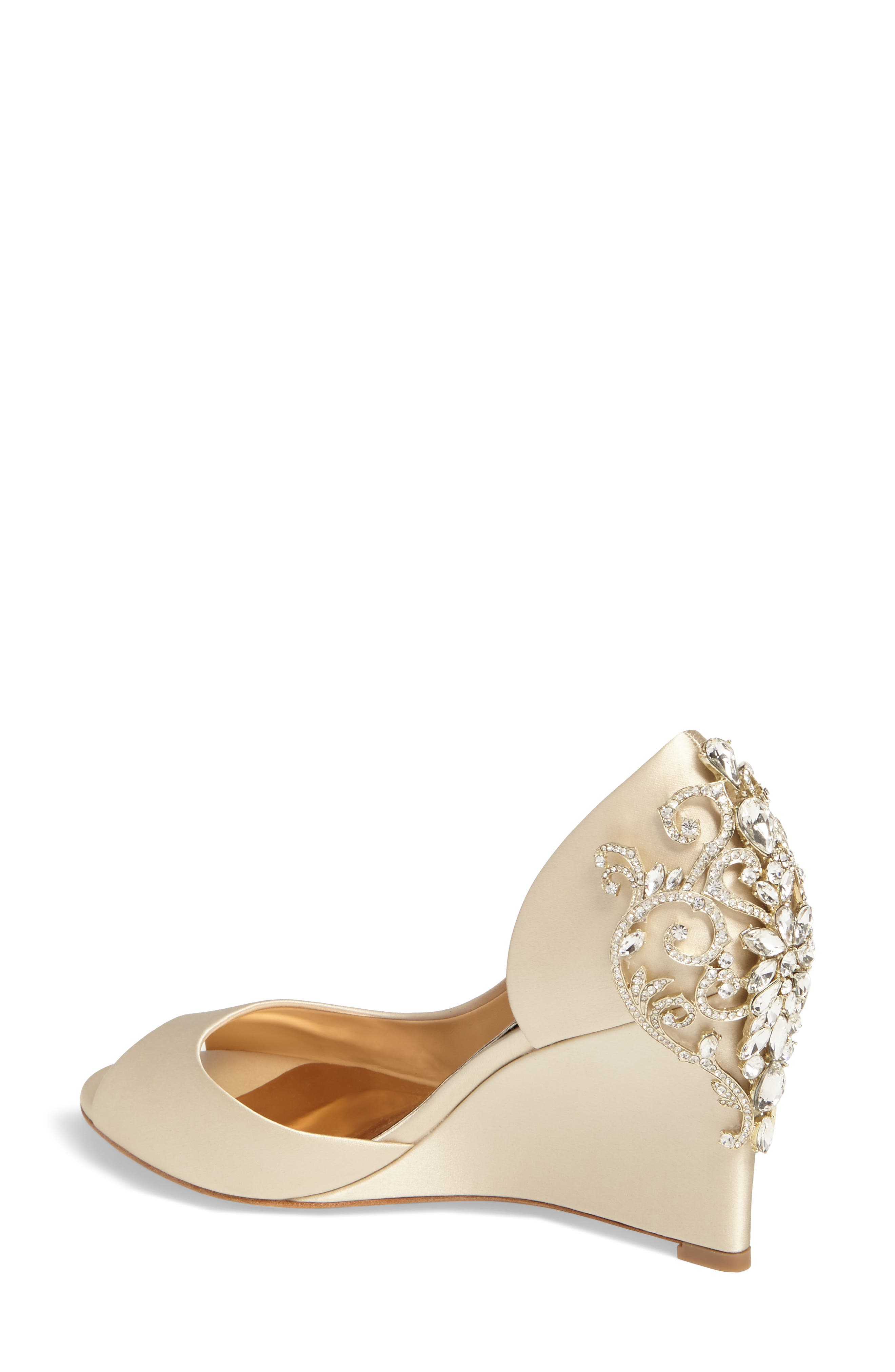 Meagan Embellished Peep Toe Wedge,                             Alternate thumbnail 2, color,                             IVORY SATIN