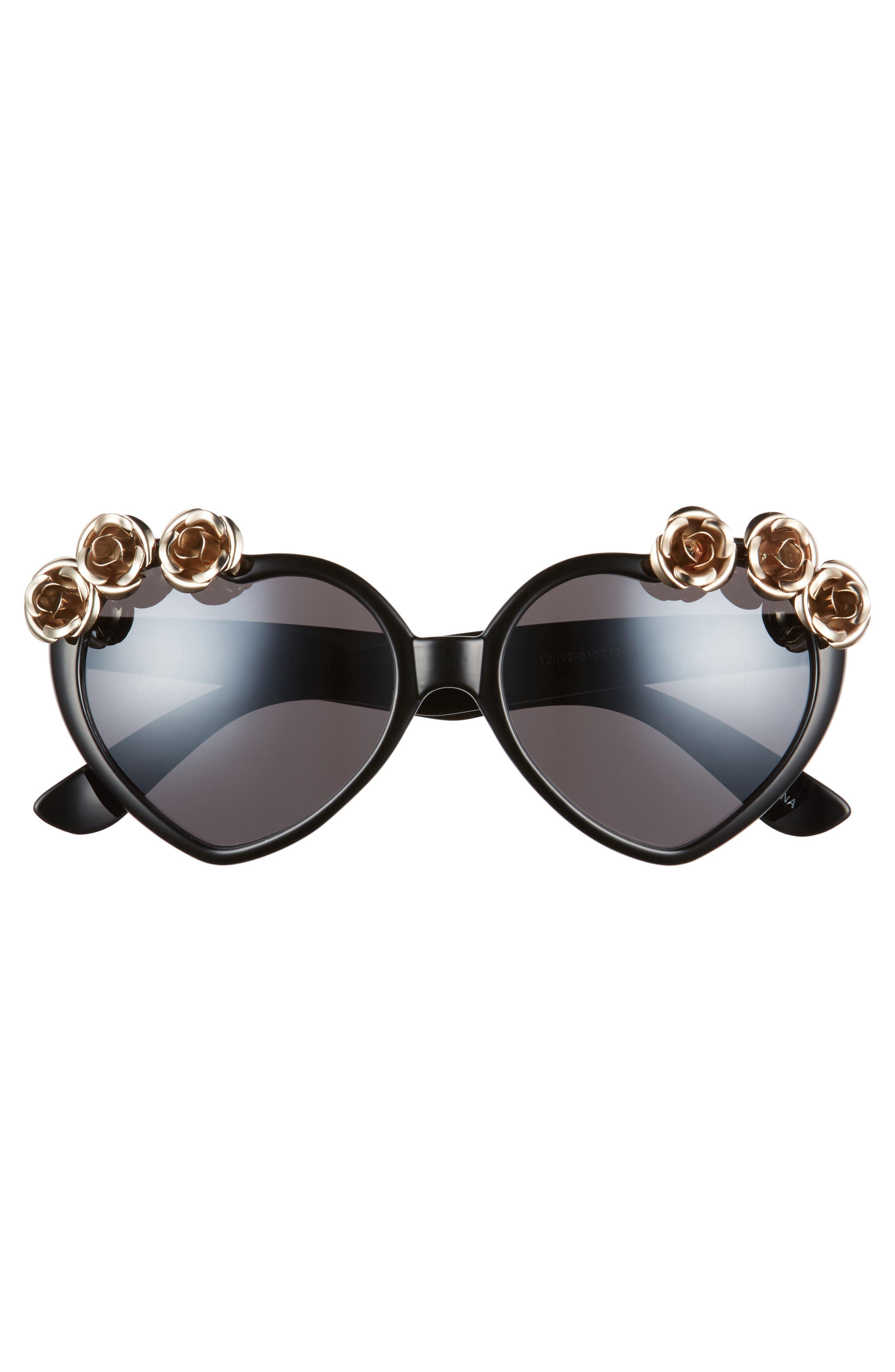 58mm Rose Embellished Heart Sunglasses,                             Alternate thumbnail 3, color,                             001