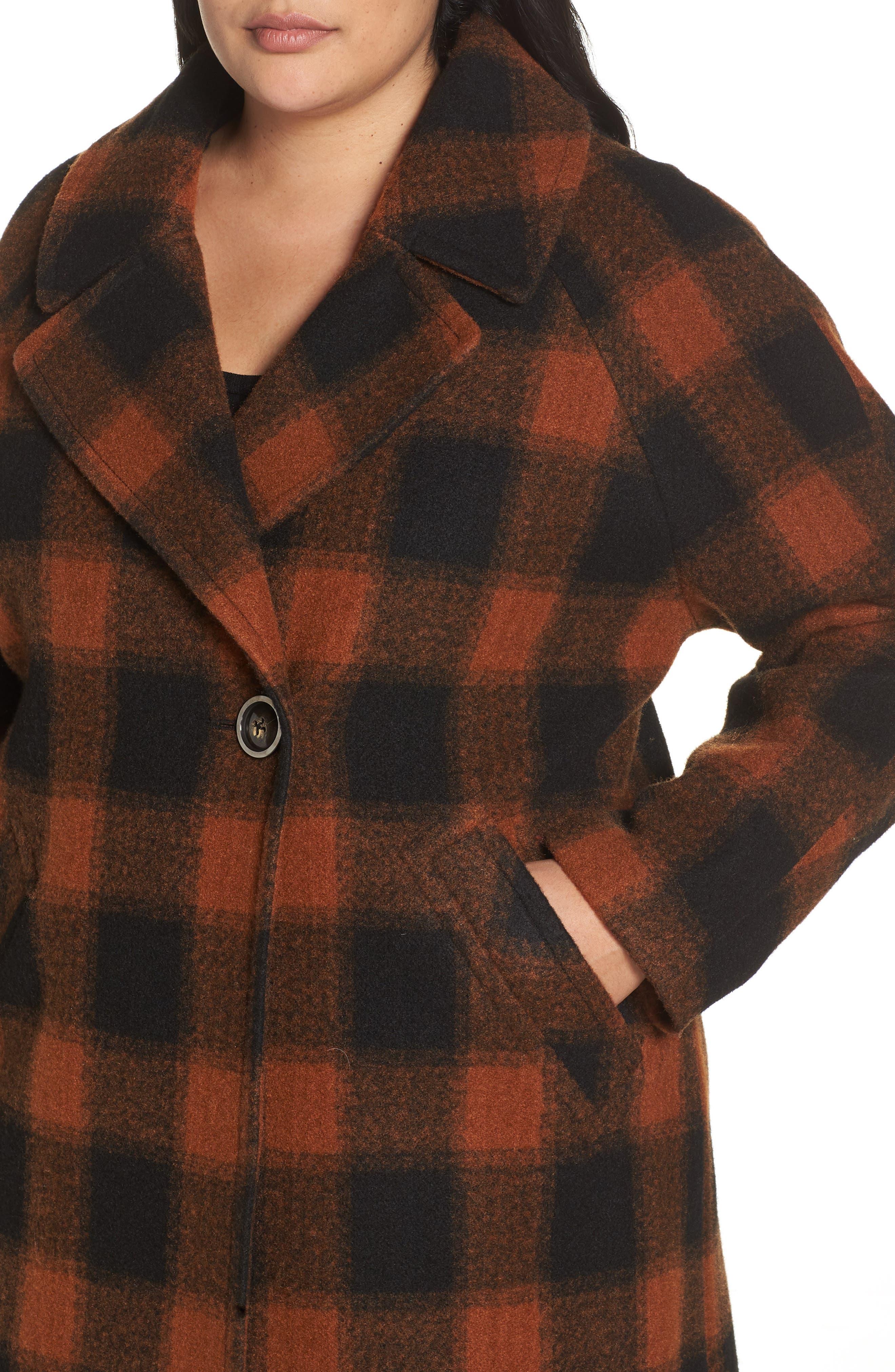 Oversize Boiled Wool Coat,                             Alternate thumbnail 4, color,                             PLAID