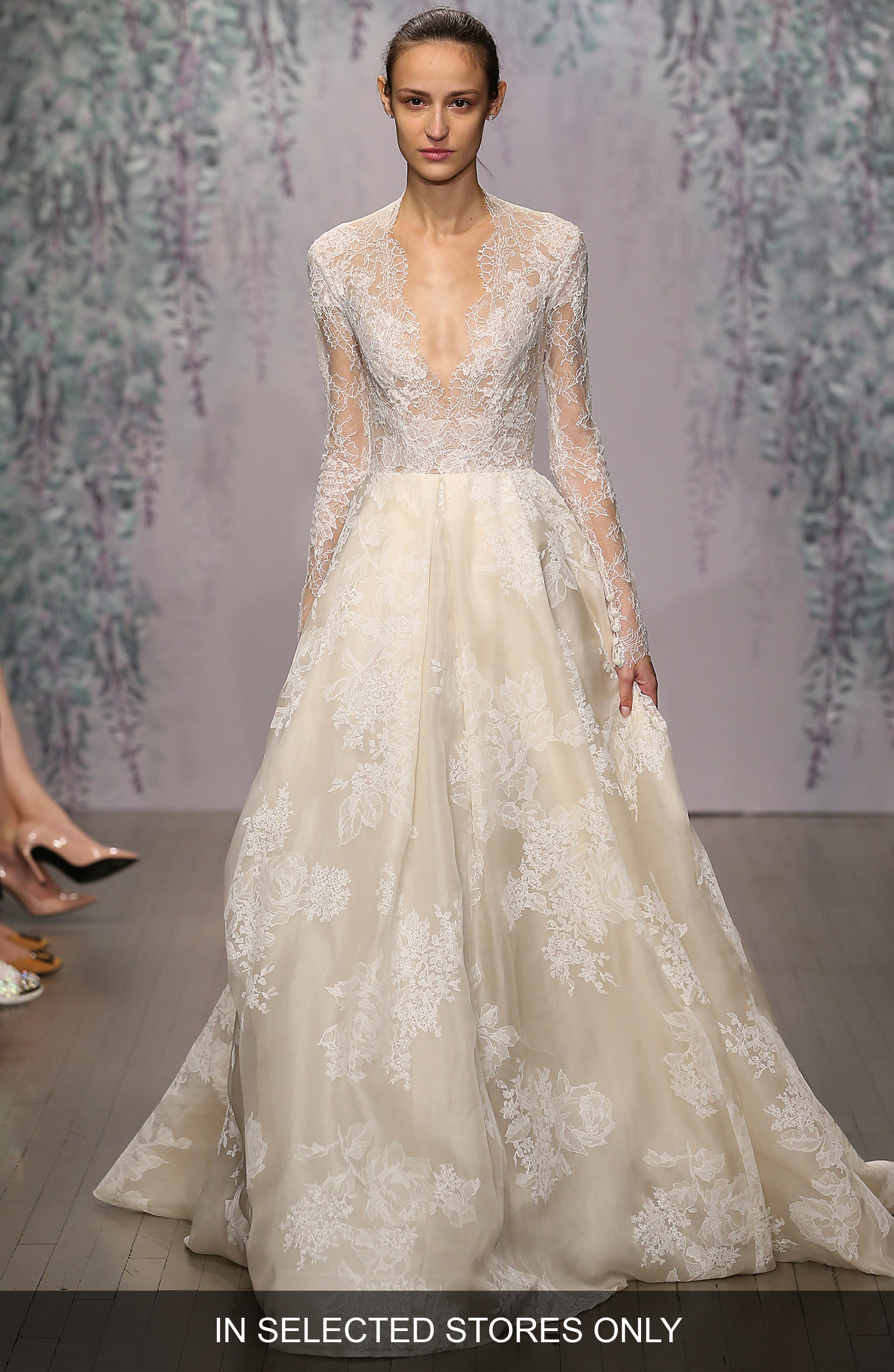 Winslet Plunging V-Neck Organza & Lace Ballgown Dress,                             Alternate thumbnail 2, color,