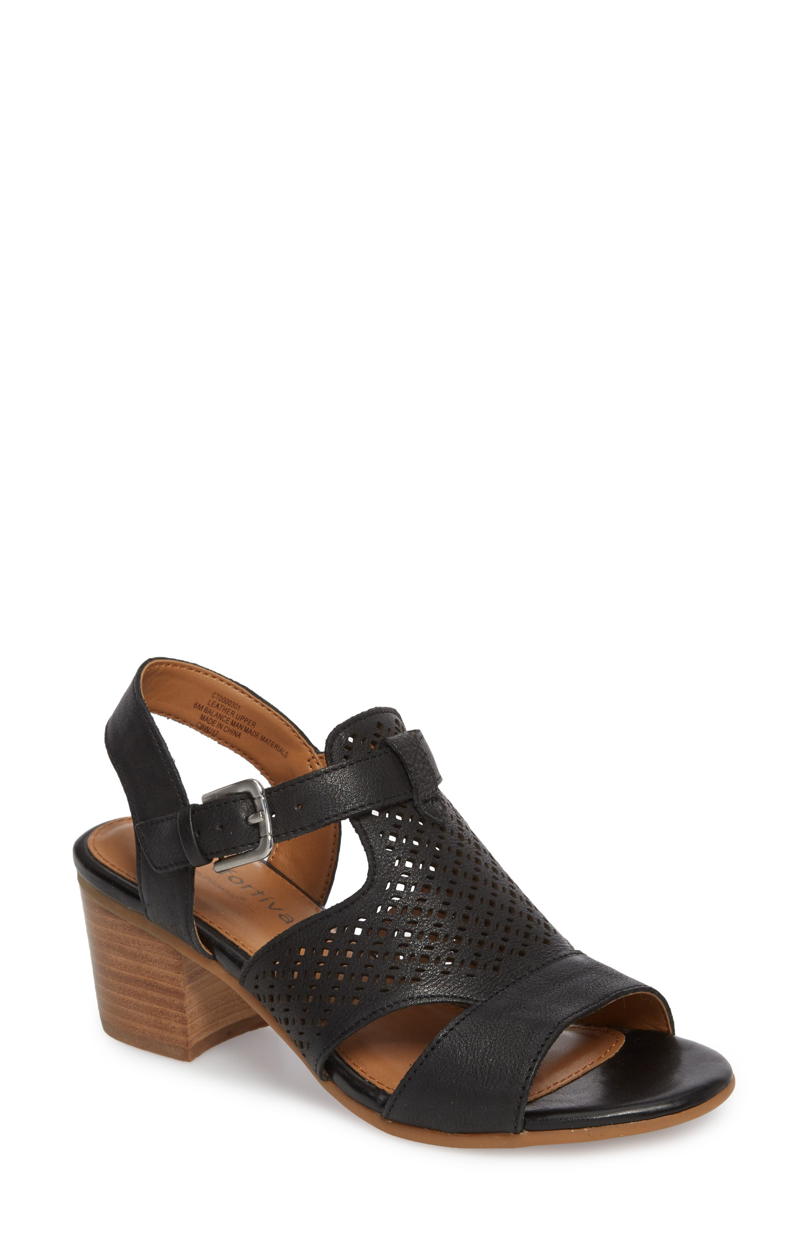 47b84ff94f2 Comfortiva Amber Perforated Block Heel Sandal- Black
