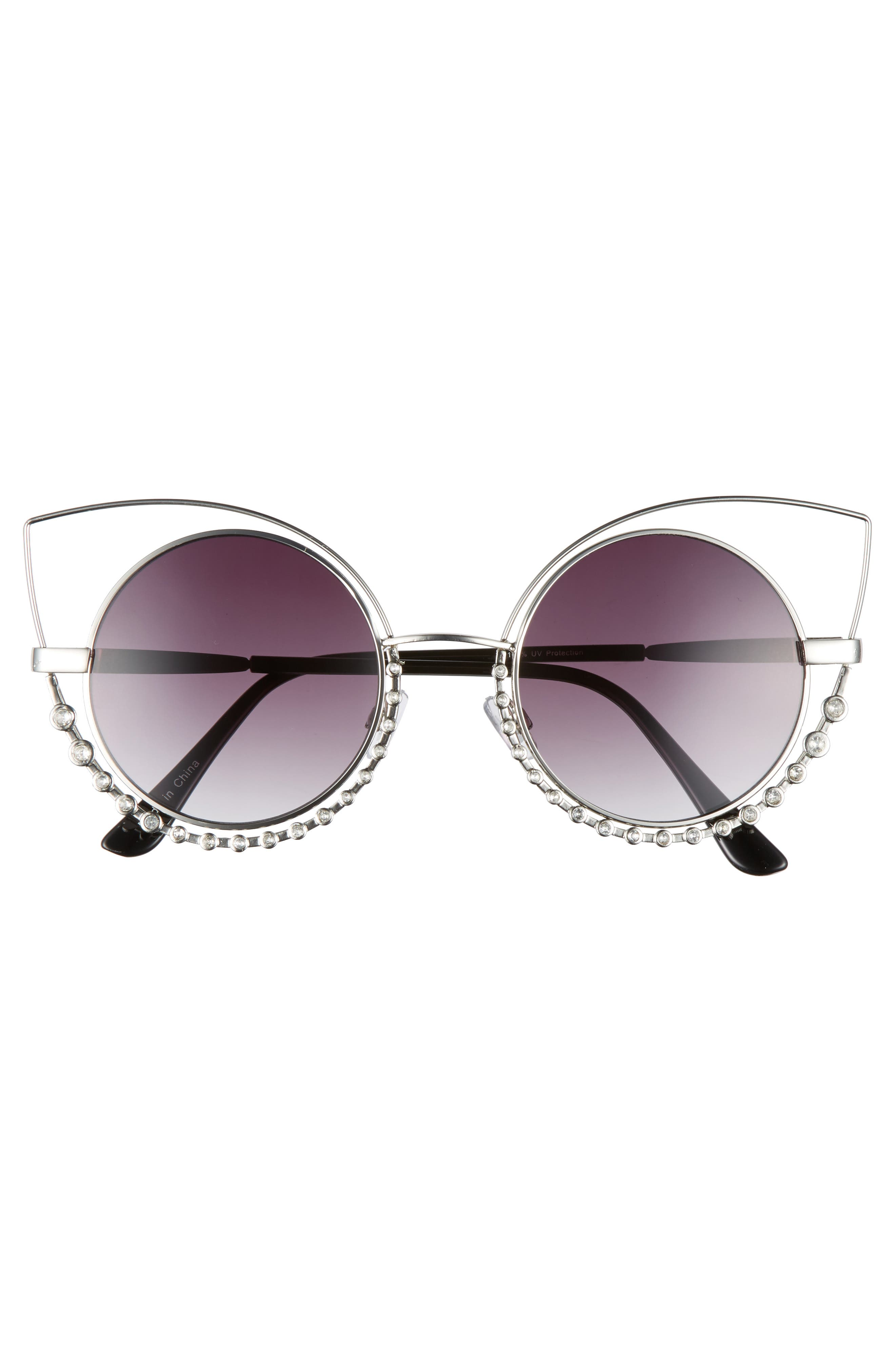 55mm Studded Round Sunglasses,                             Alternate thumbnail 3, color,                             040