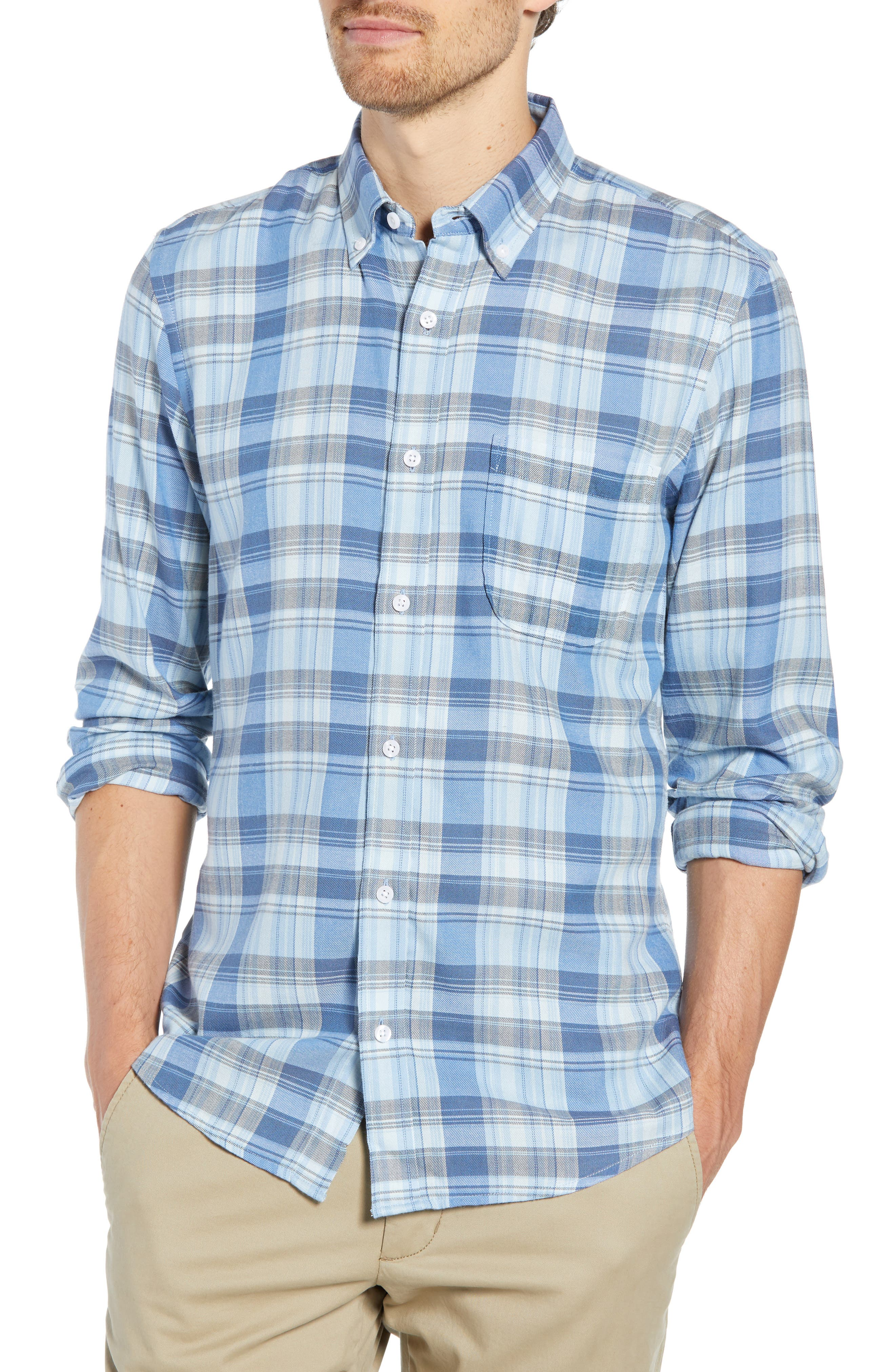 Slim Fit Plaid Sport Shirt,                             Main thumbnail 1, color,                             BLUE CHAMBRAY BLUE DARK PLAID