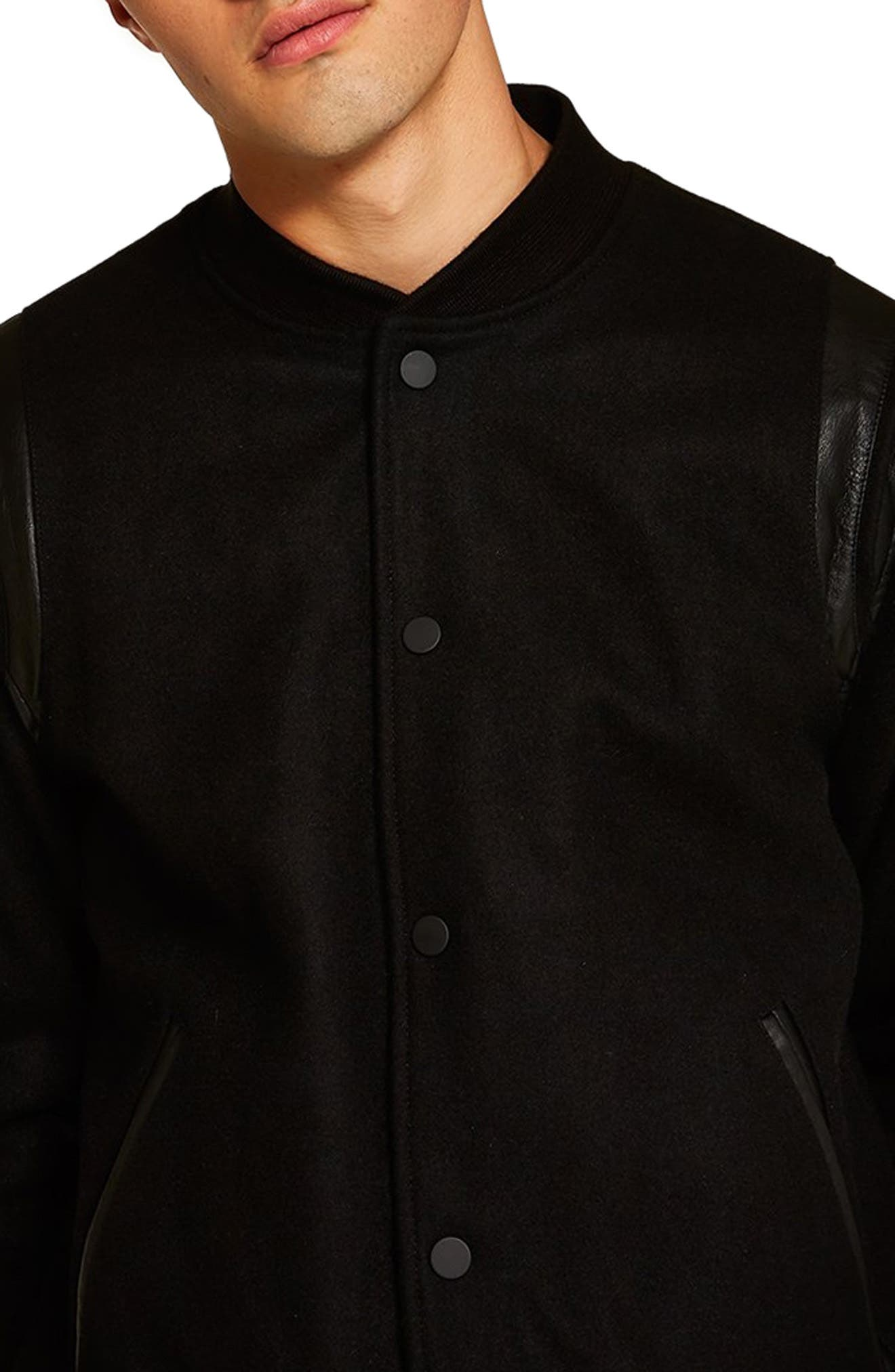 Wool Blend Varsity Jacket,                             Alternate thumbnail 3, color,                             BLACK