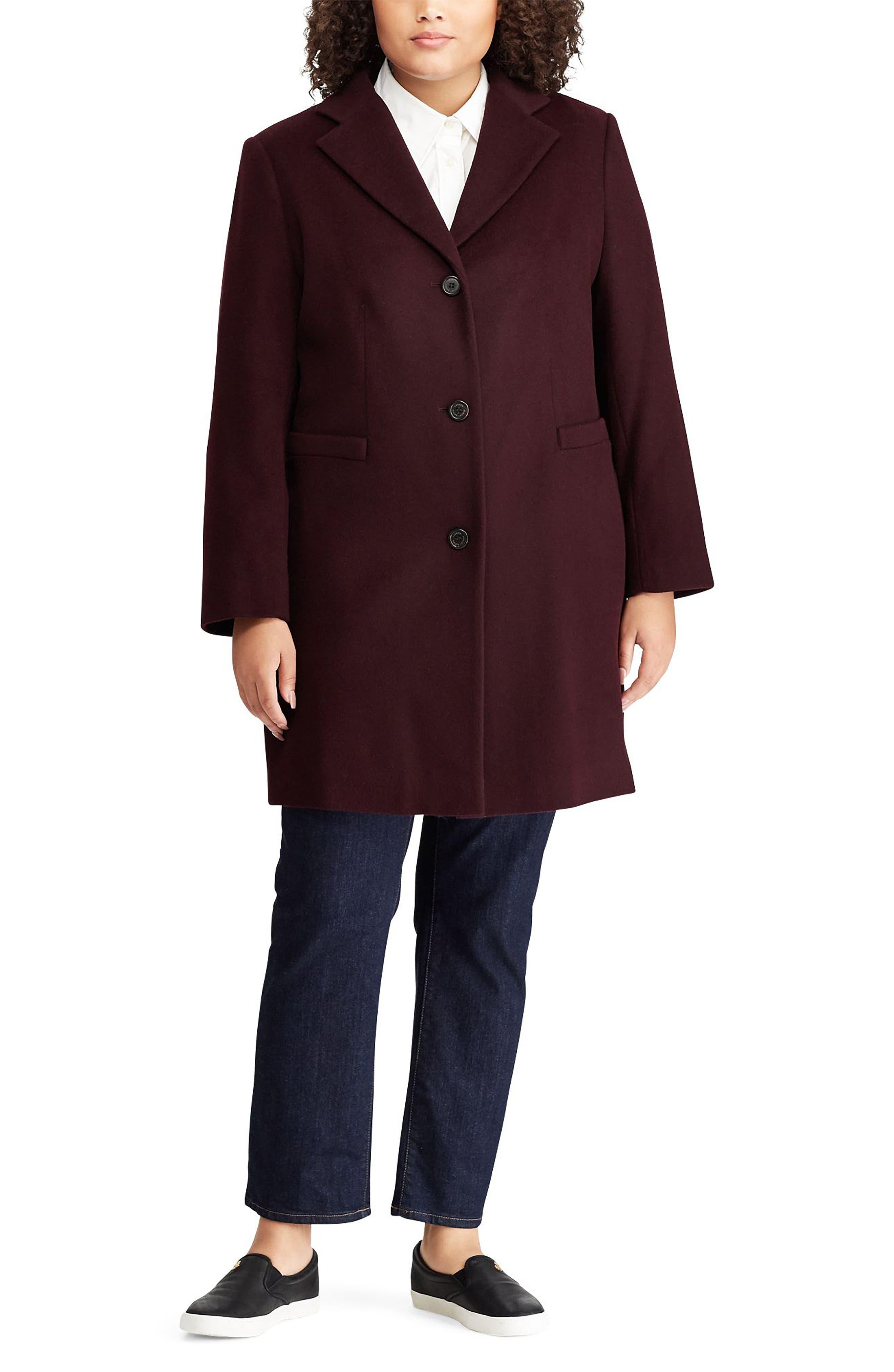 LAUREN RALPH LAUREN,                             Wool Blend Reefer Coat,                             Alternate thumbnail 3, color,                             BURGUNDY