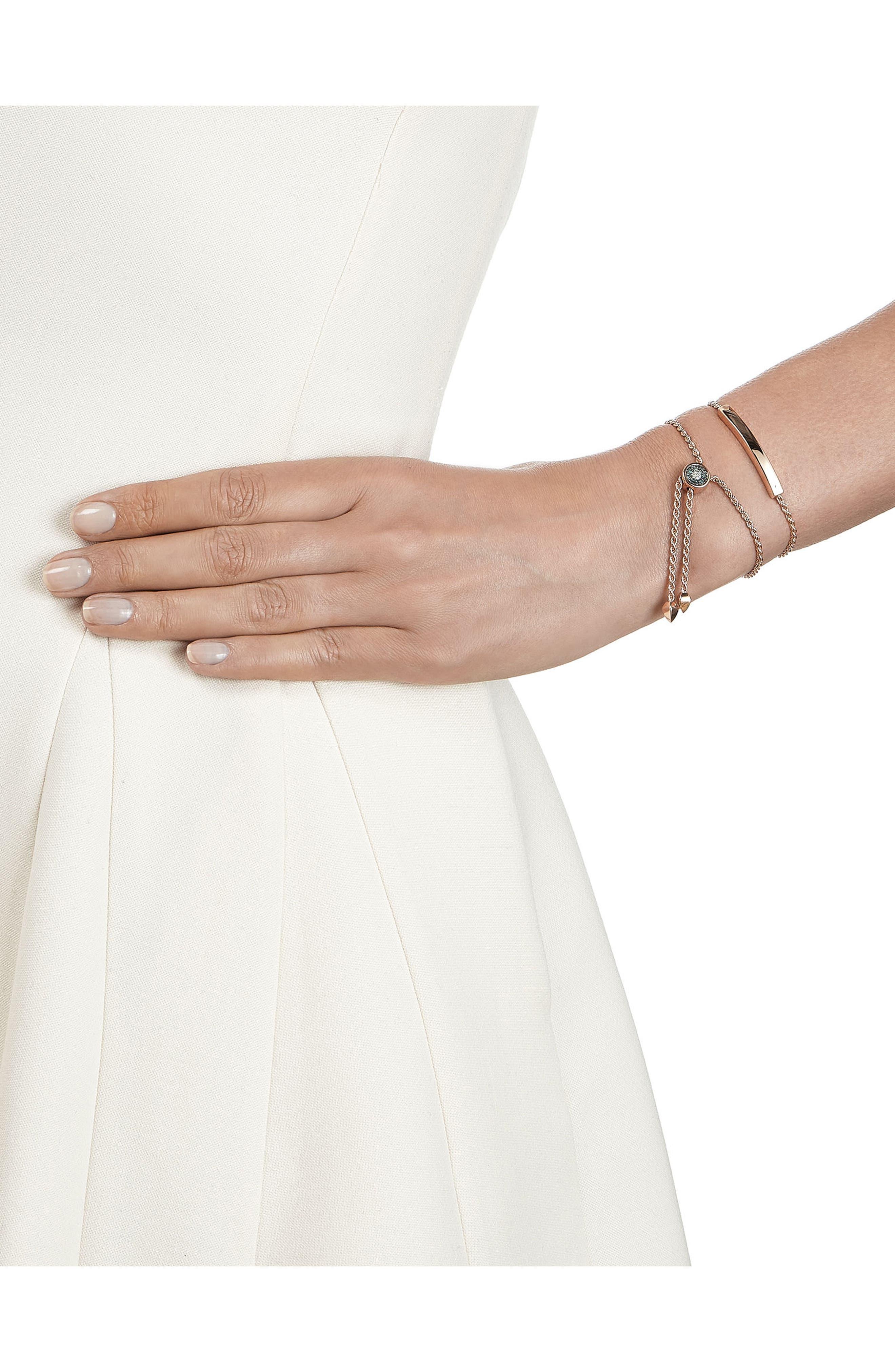 Engravable Linear Evil Eye Diamond Bracelet,                             Alternate thumbnail 2, color,                             ROSE GOLD