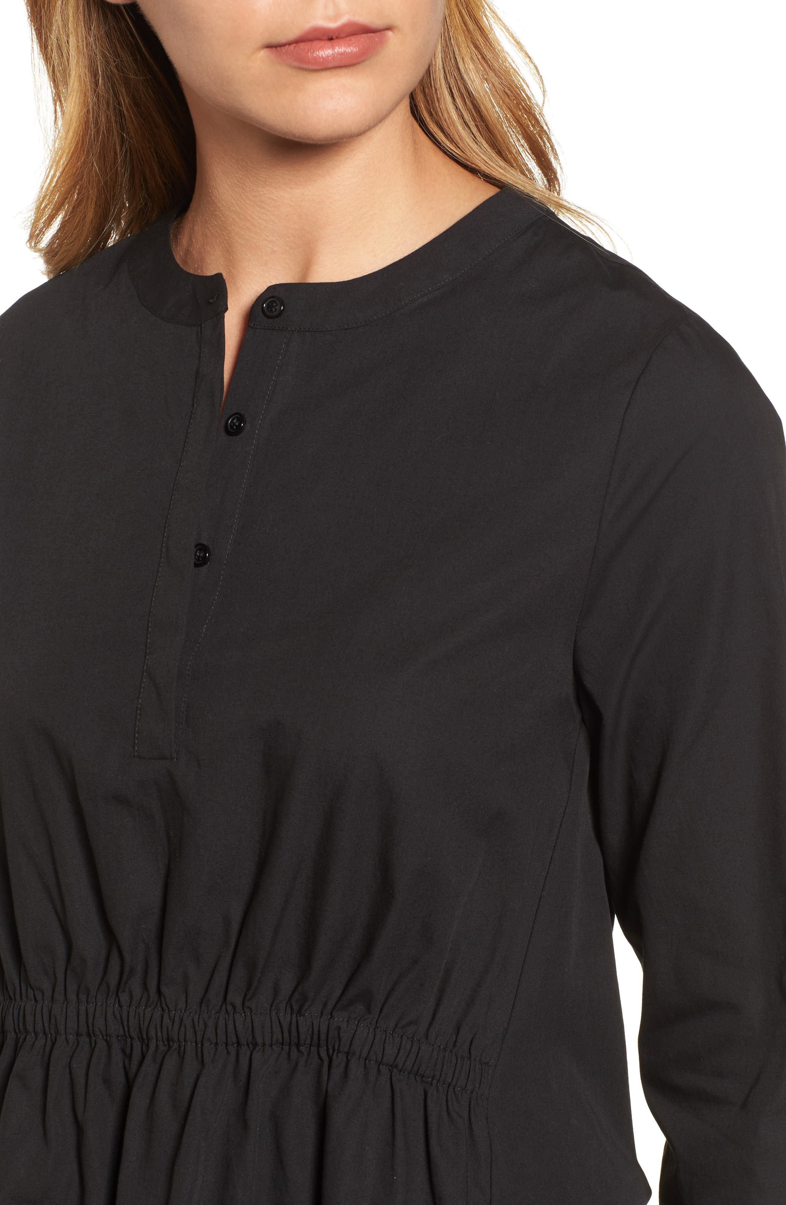 Cinched Front Peplum Top,                             Alternate thumbnail 4, color,                             001