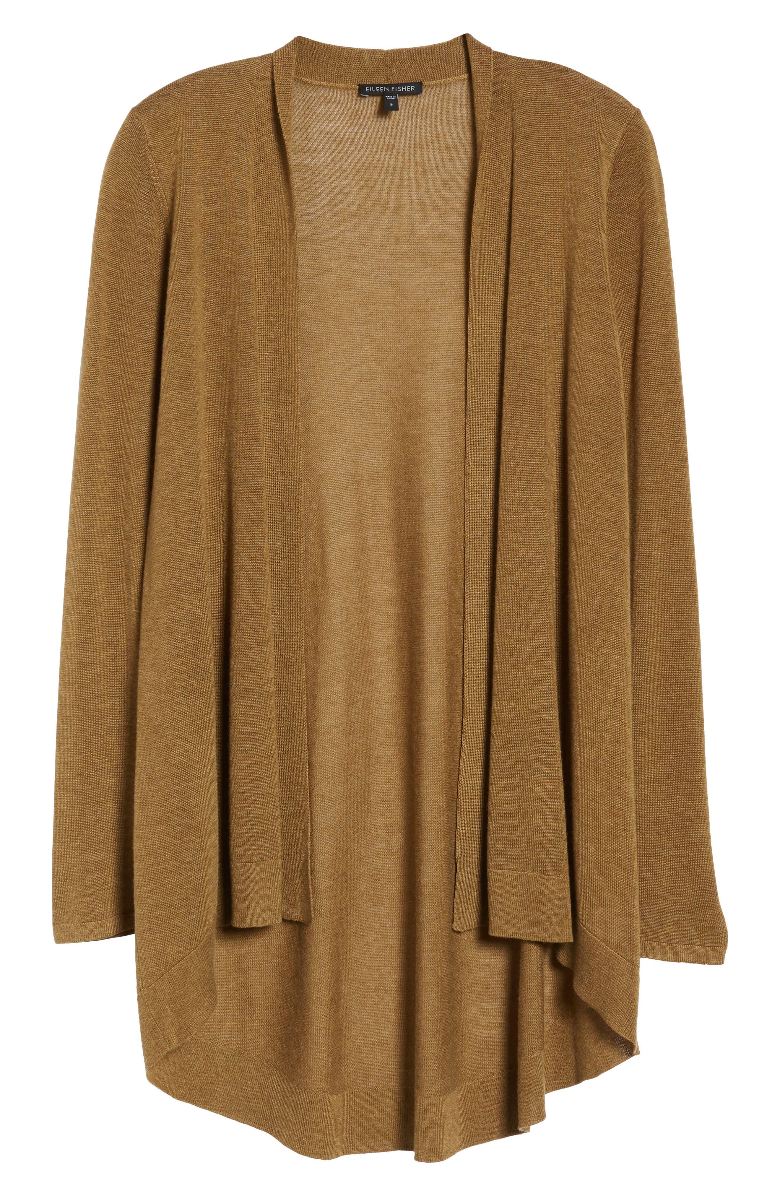 Tencel<sup>®</sup> Lyocell & Merino Wool Shaped Cardigan,                             Alternate thumbnail 30, color,