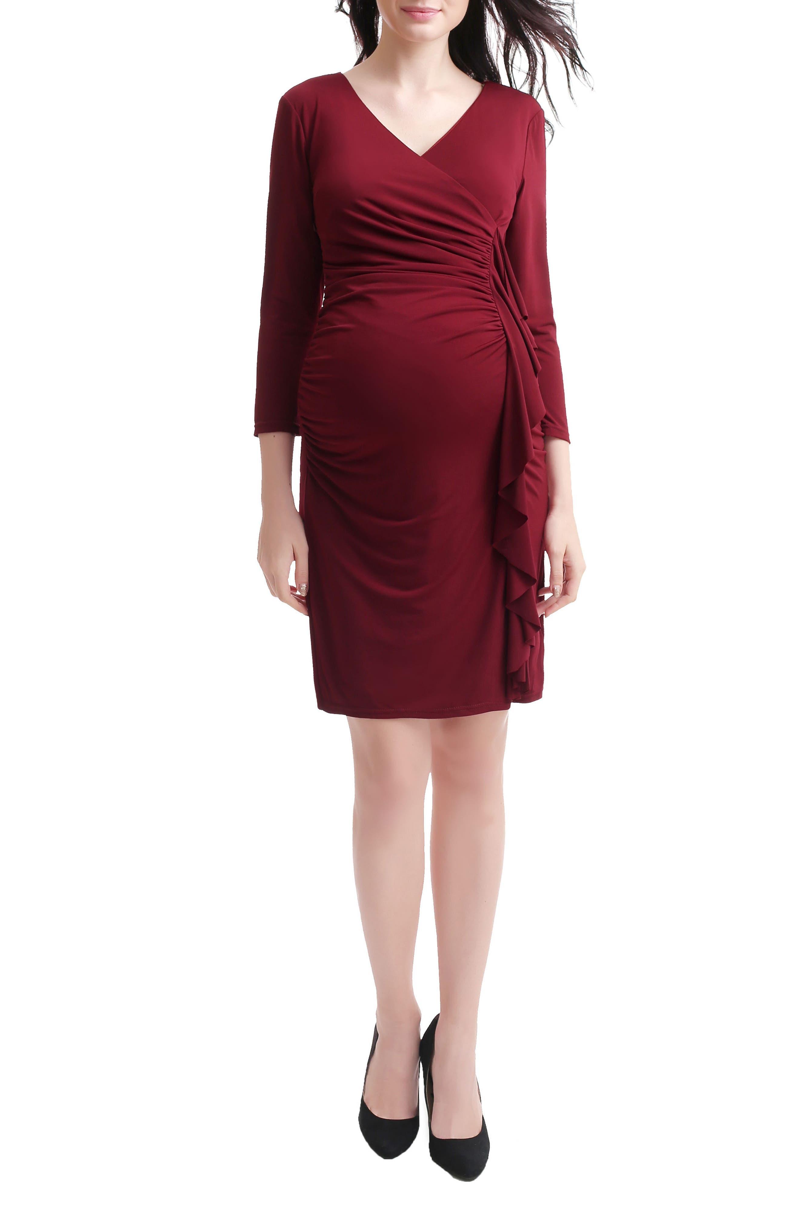 Gypsy Ruffle Maternity Dress,                             Alternate thumbnail 4, color,
