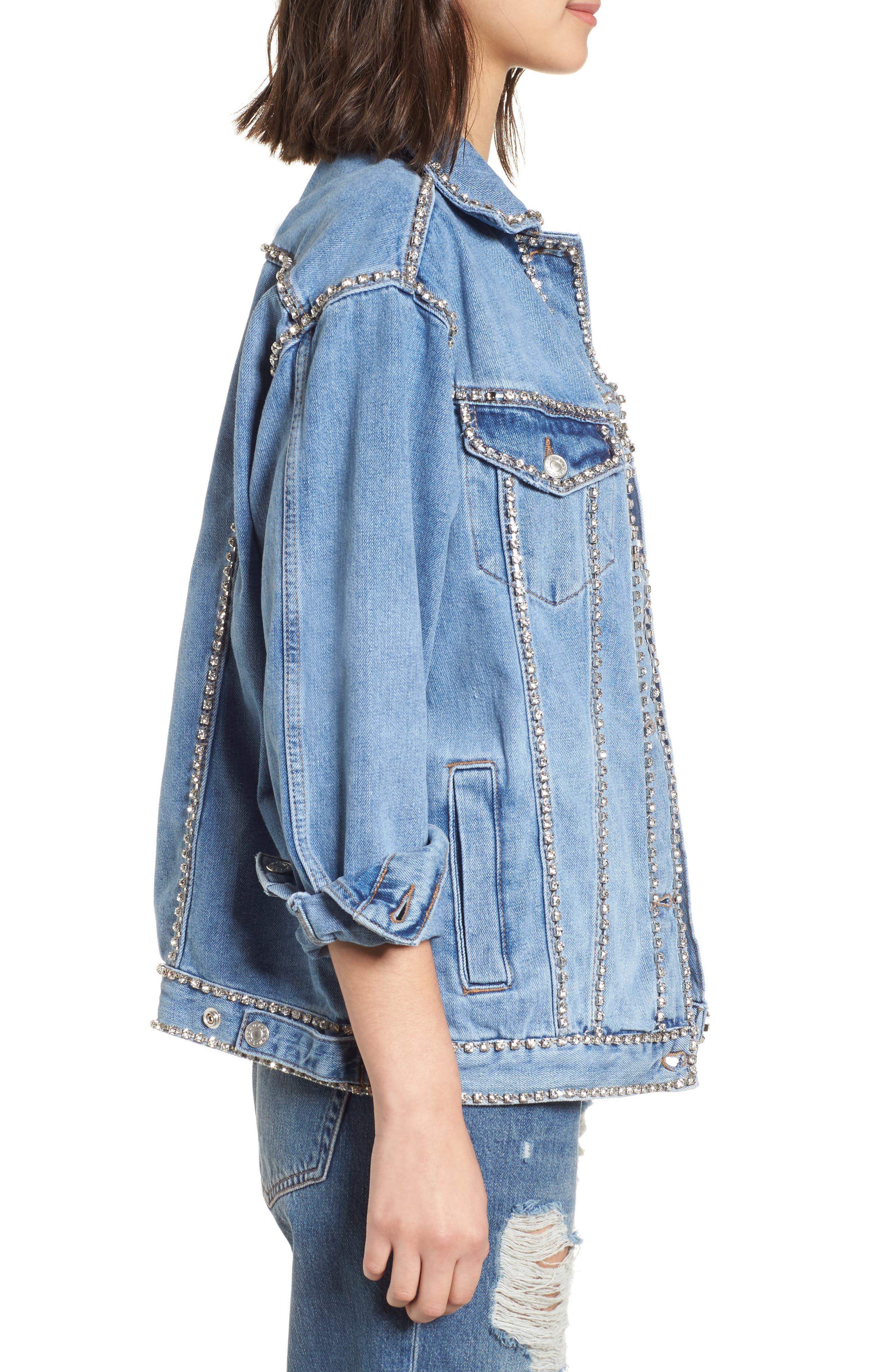 Oversize Crystal Seam Denim Jacket,                             Alternate thumbnail 3, color,                             400