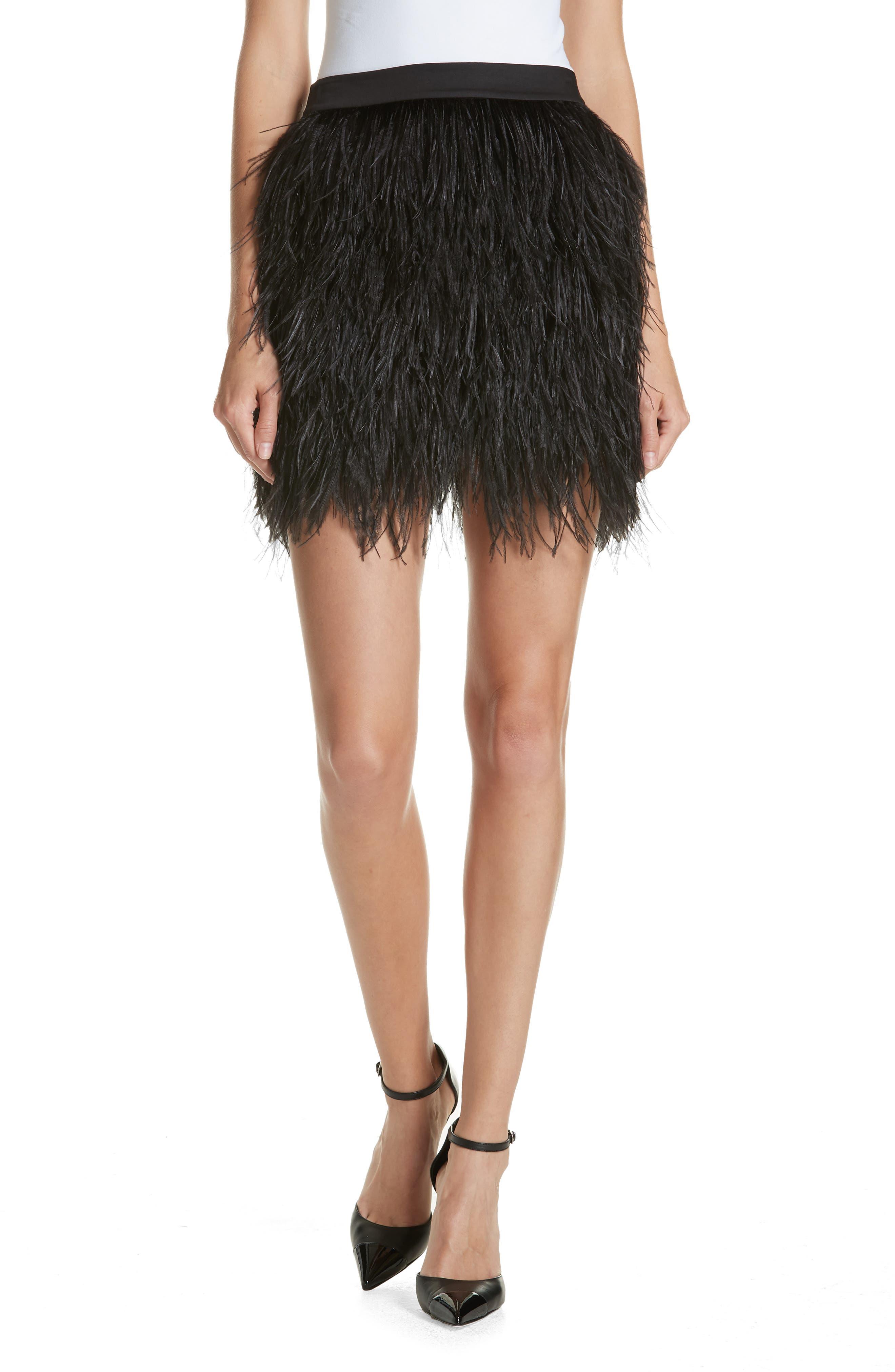 Ostrich Feather Miniskirt,                             Main thumbnail 1, color,                             001