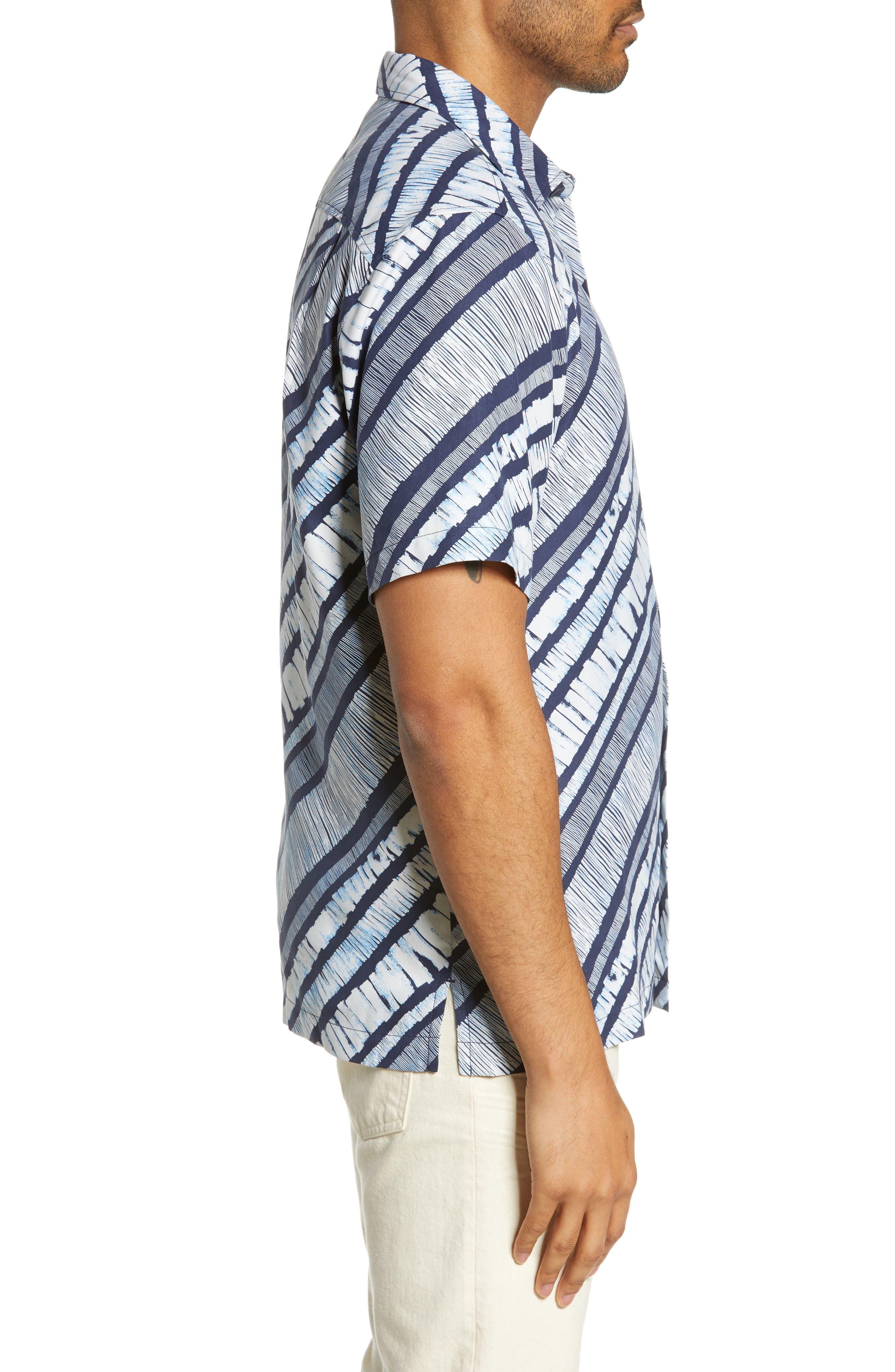 North Shore Winds Classic Fit Silk Camp Shirt,                             Alternate thumbnail 4, color,                             OCEAN DEEP