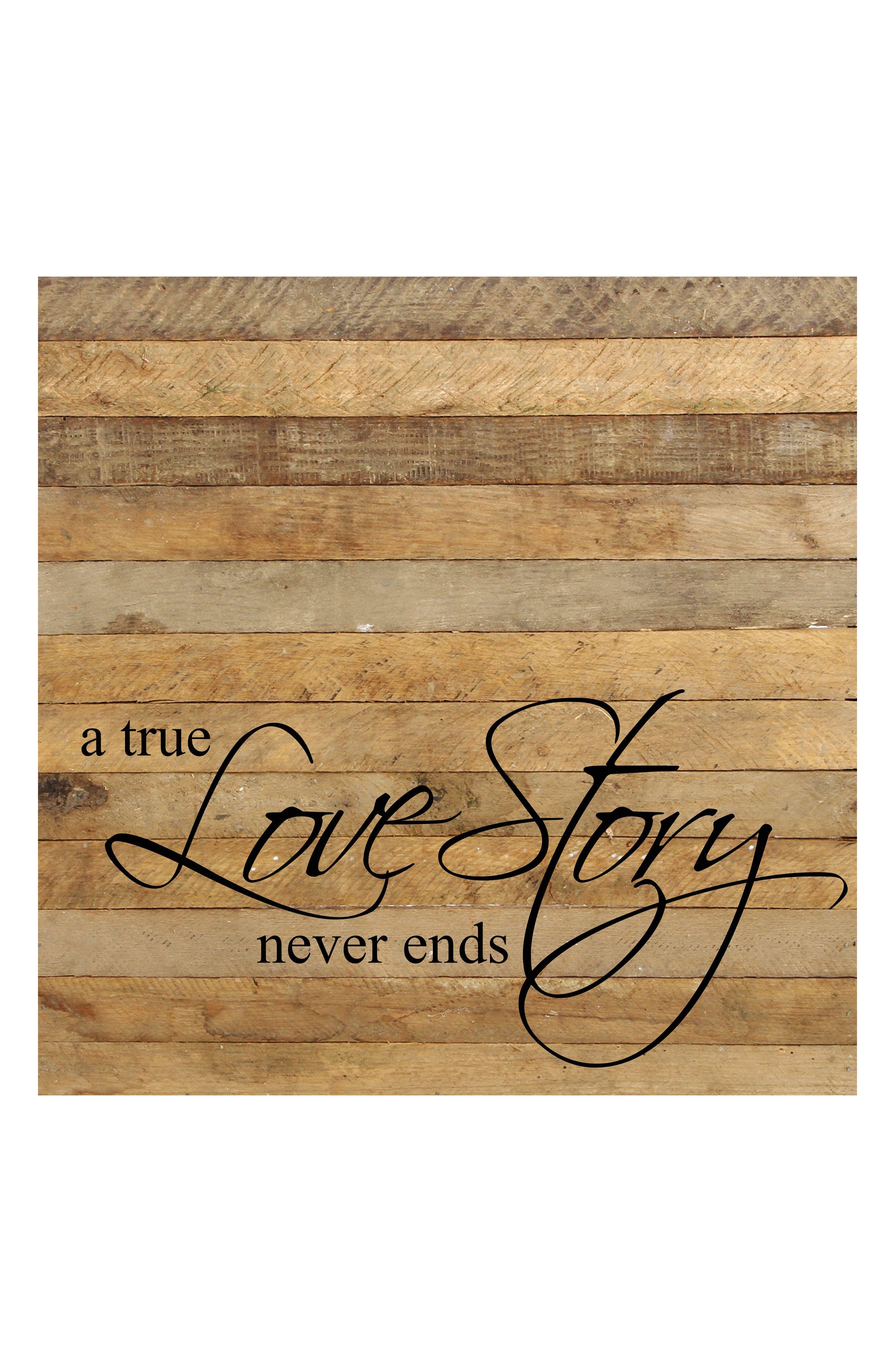 Love Story Repurposed Wood Wall Art,                             Main thumbnail 1, color,                             BROWN