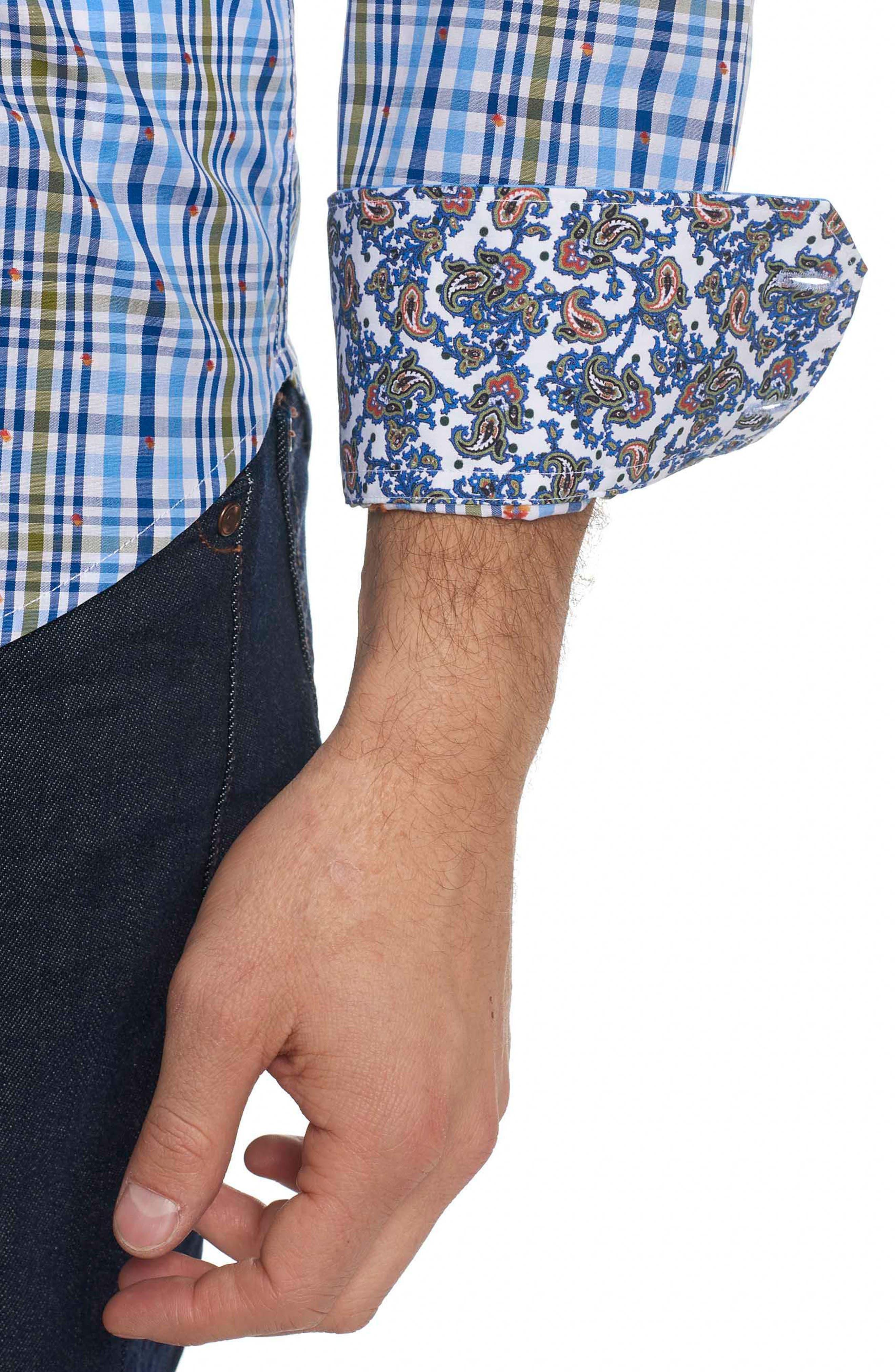 Cape Vincent Classic Fit Dobby Check Sport Shirt,                             Alternate thumbnail 4, color,