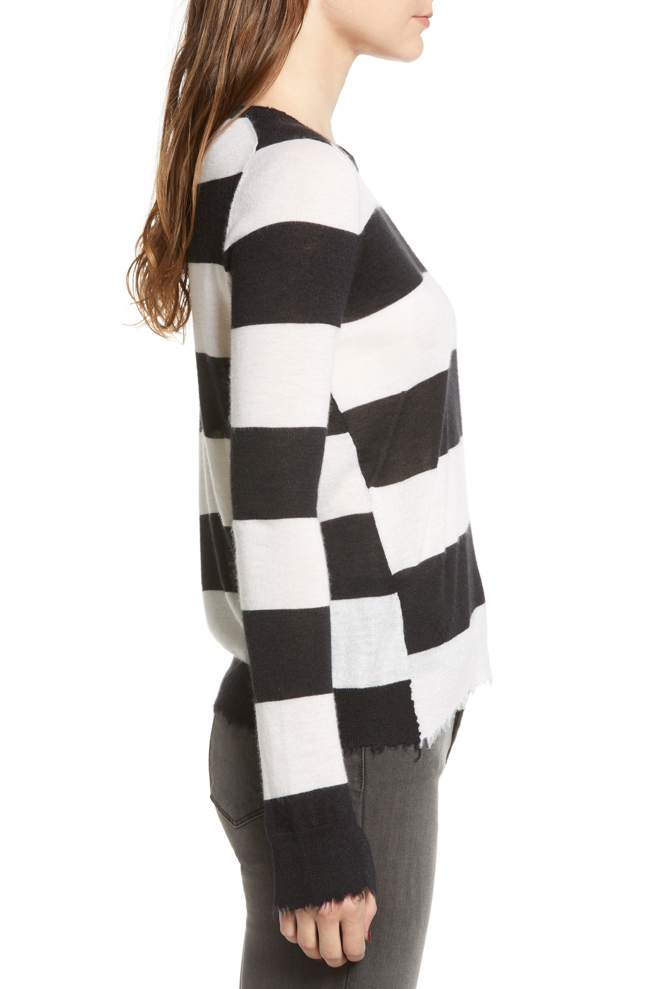 Source Stripe Cashmere Sweater,                             Alternate thumbnail 3, color,                             001