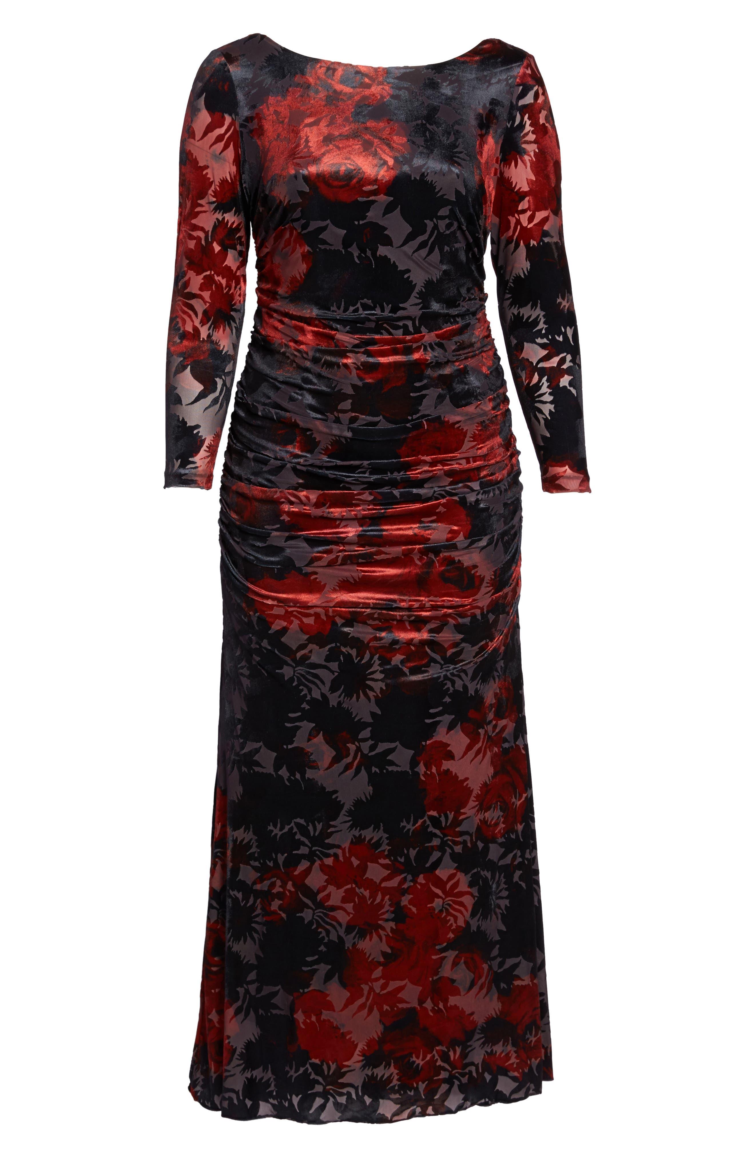 Adriana Papell Burnout Velvet Gown,                             Alternate thumbnail 6, color,