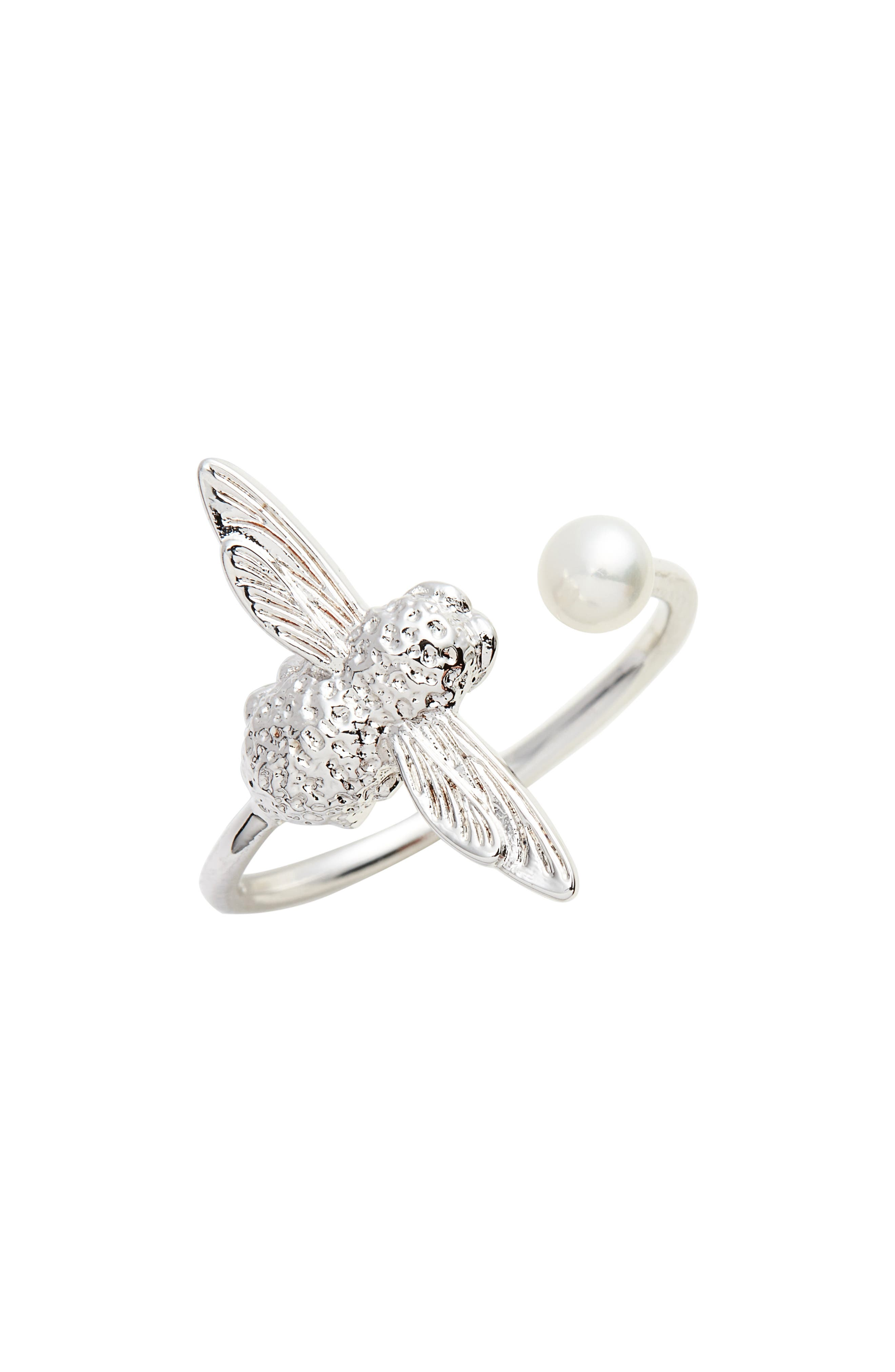 Pearl Bee Ring,                         Main,                         color, SILVER
